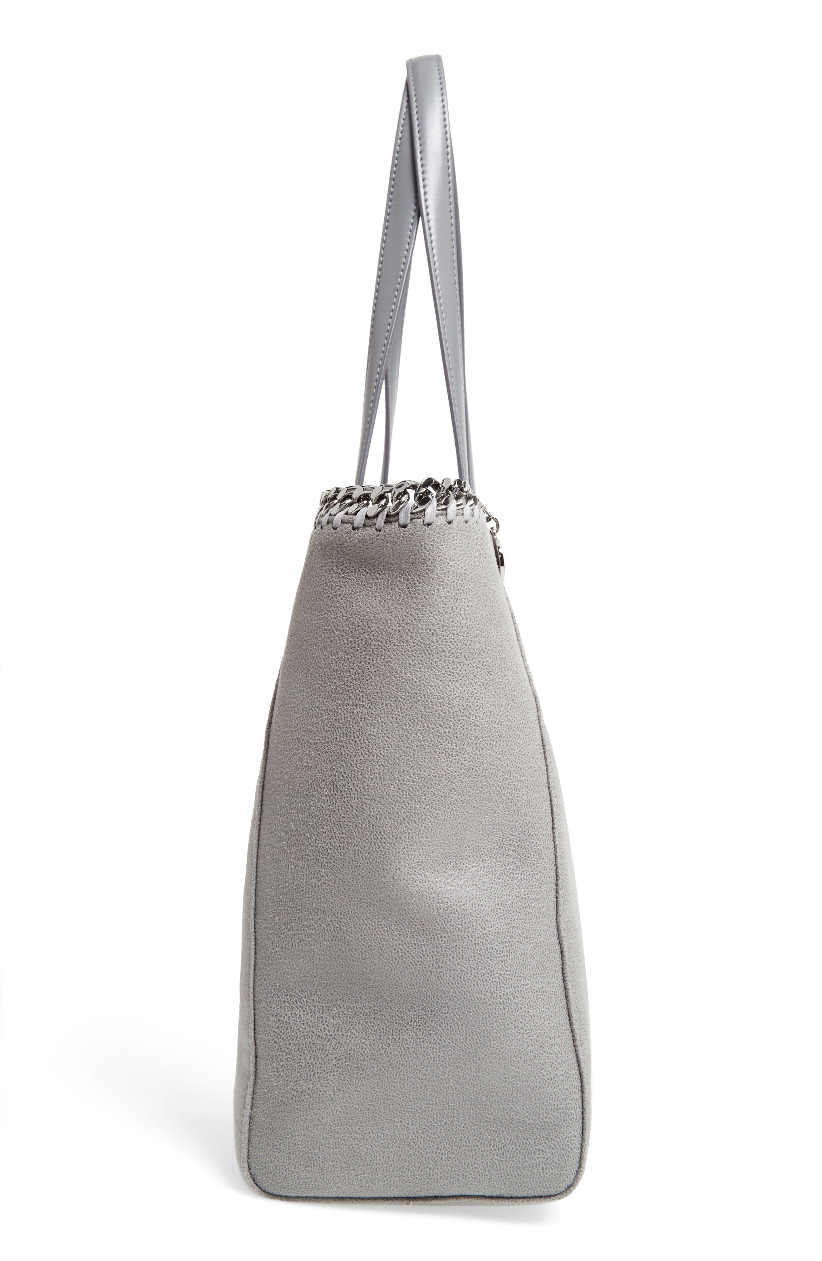 'Falabella - Shaggy Deer' Faux Leather Tote,                             Alternate thumbnail 5, color,                             Light Grey