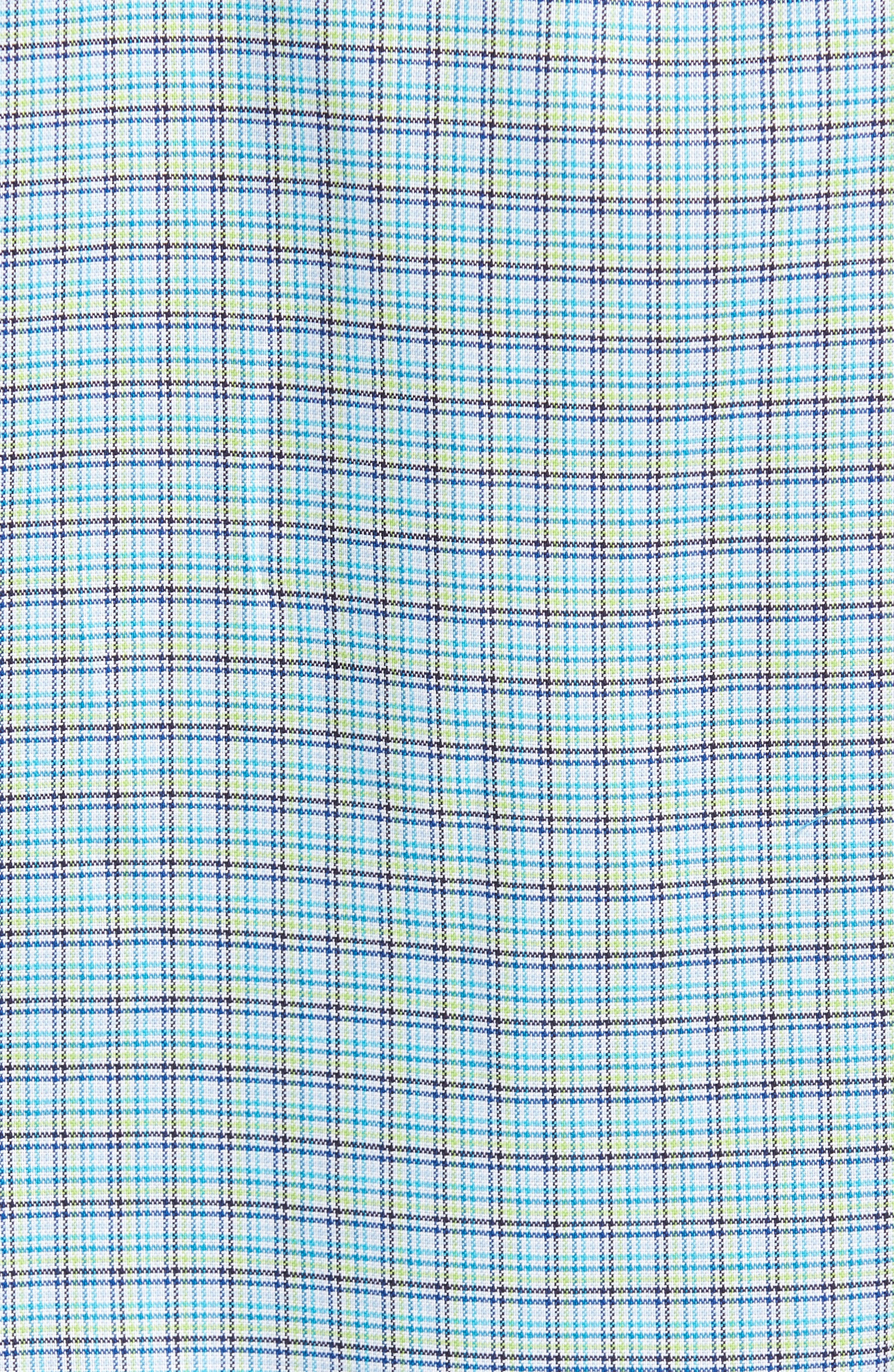 Classic Fit Textured Check Sport Shirt,                             Alternate thumbnail 5, color,                             Aqua