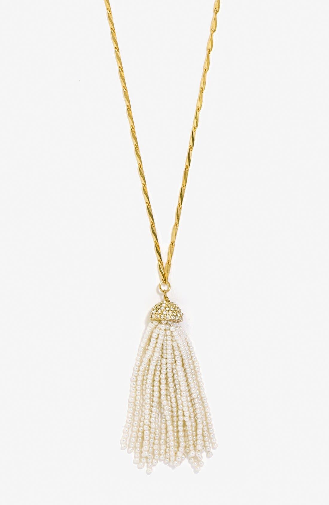 Alternate Image 2  - BaubleBar Mini Faux Pearl Tassel Pendant Necklace