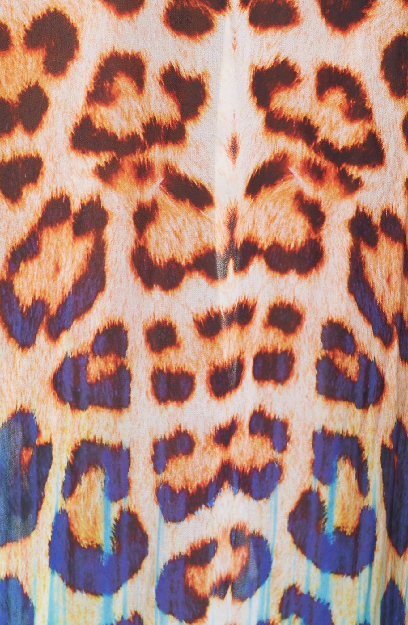 Punta Cana Long Kaftan,                             Alternate thumbnail 5, color,                             Leopard/Blue