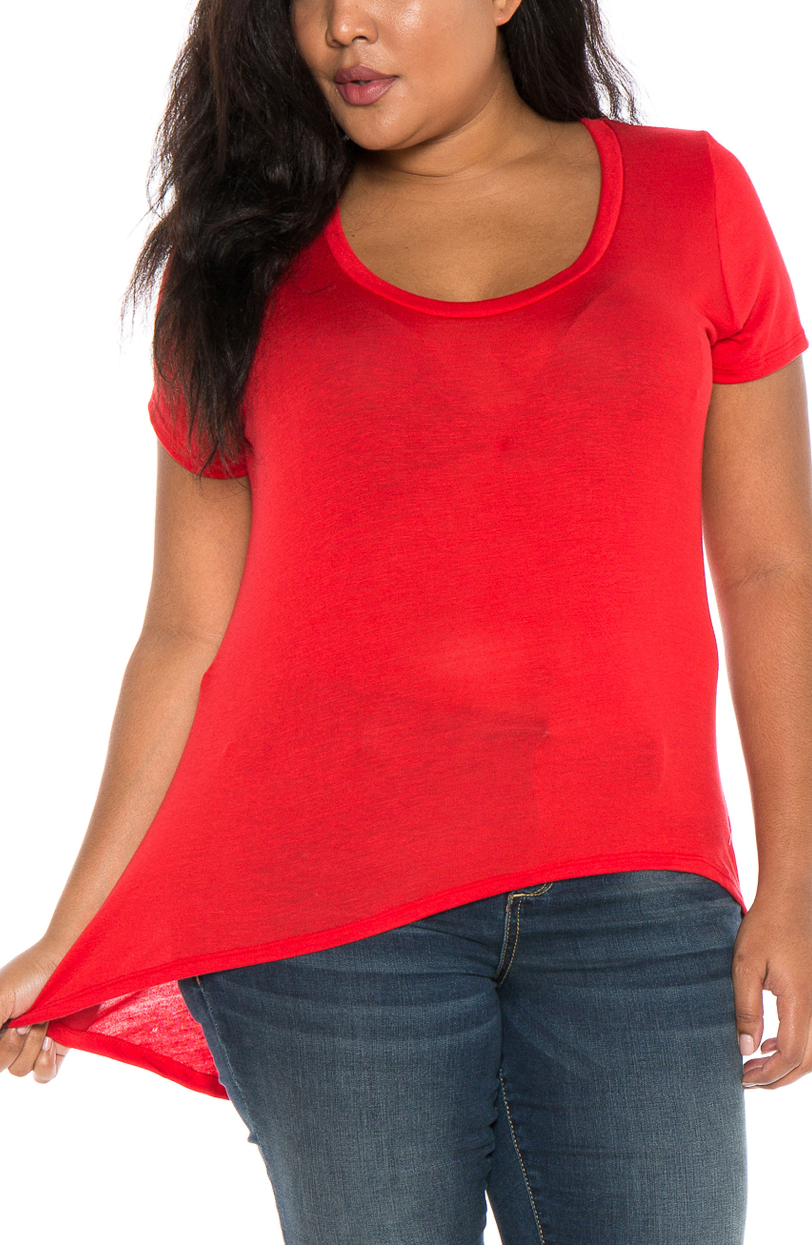 High/Low Scoop Neck Tee,                             Main thumbnail 1, color,                             Red