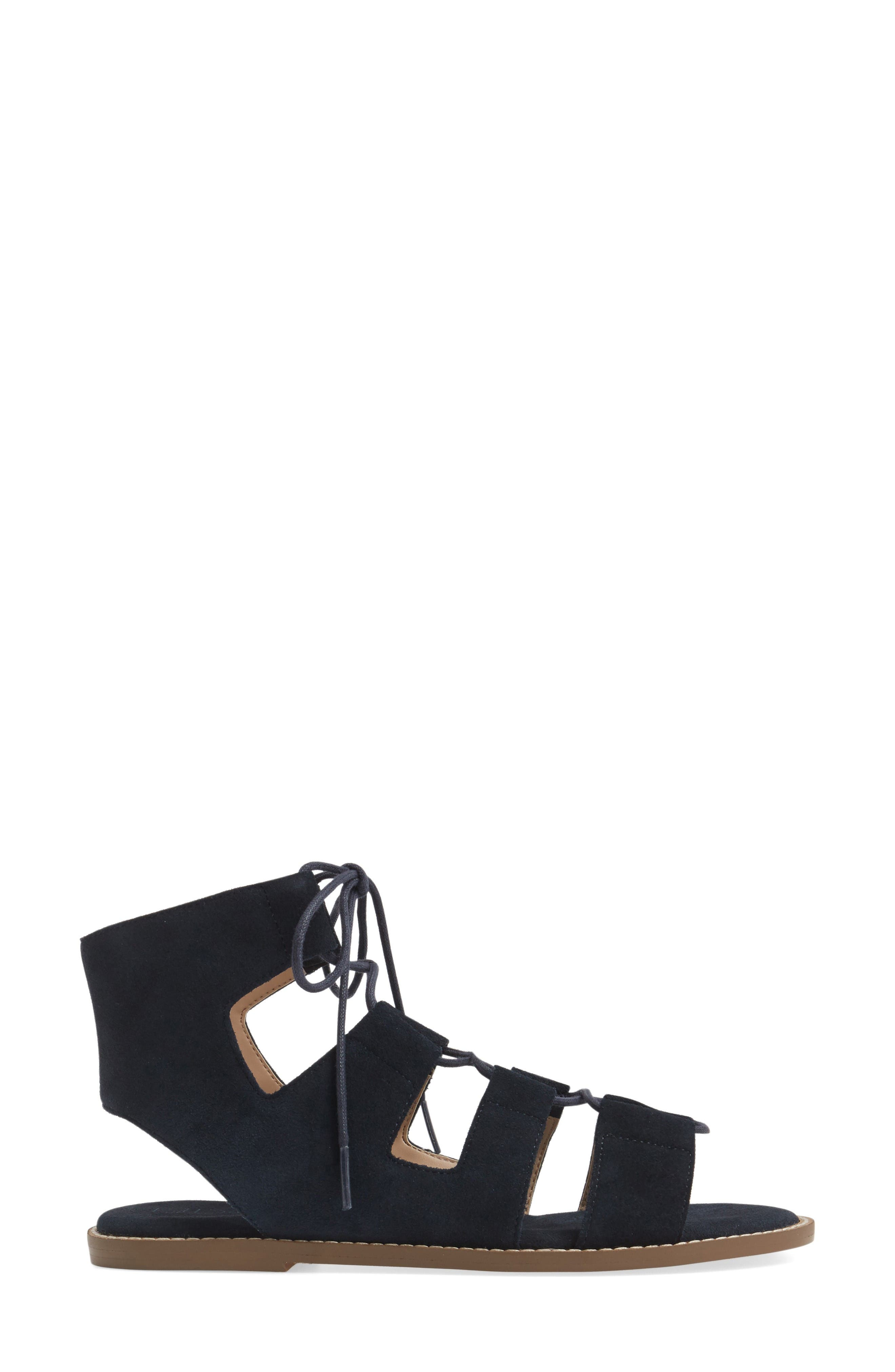 'Cady' Lace-Up Flat Sandal,                             Alternate thumbnail 3, color,                             Ink Navy Suede
