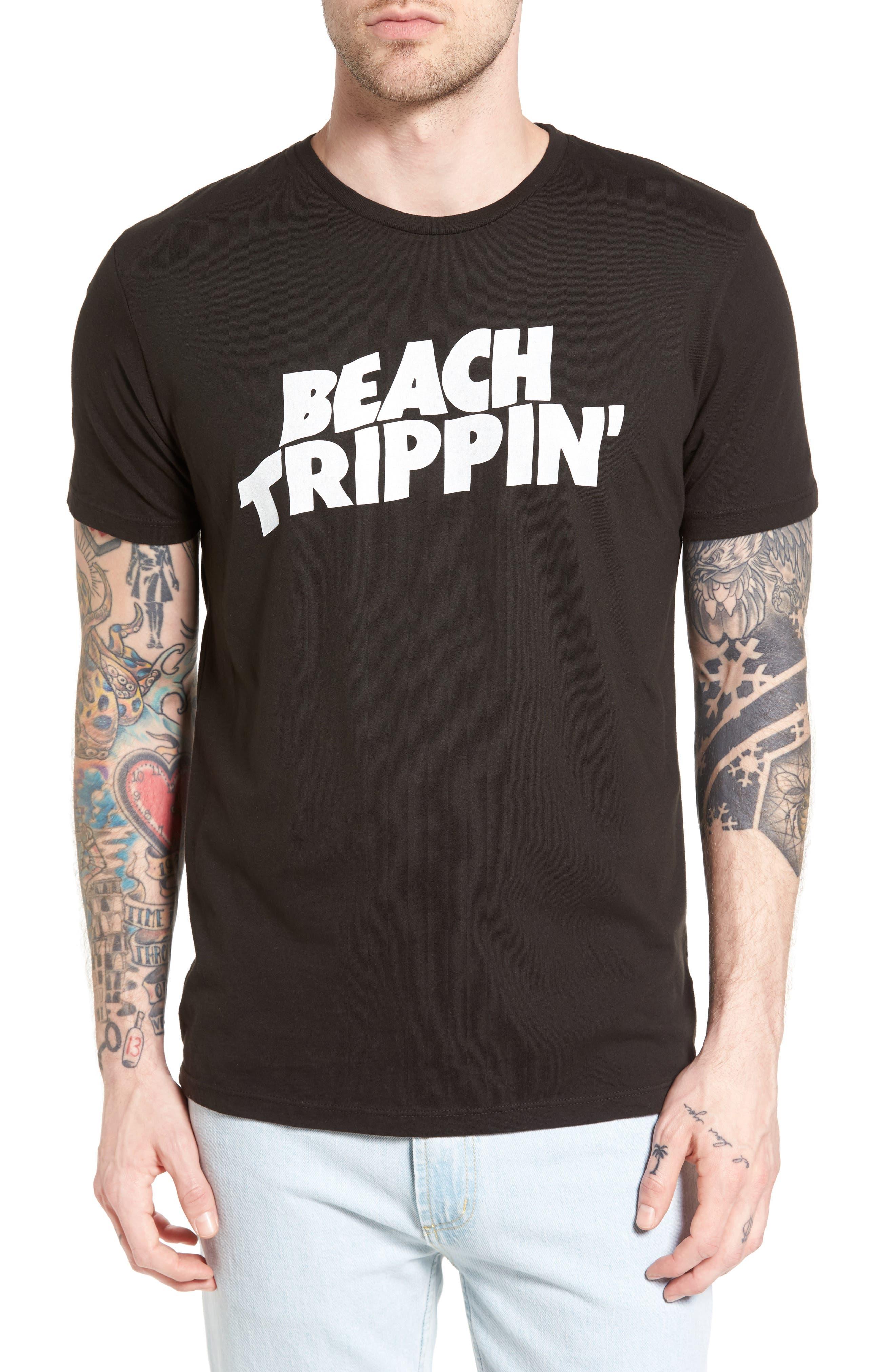 Beach Trippin' Graphic T-Shirt,                             Main thumbnail 1, color,                             Graphite