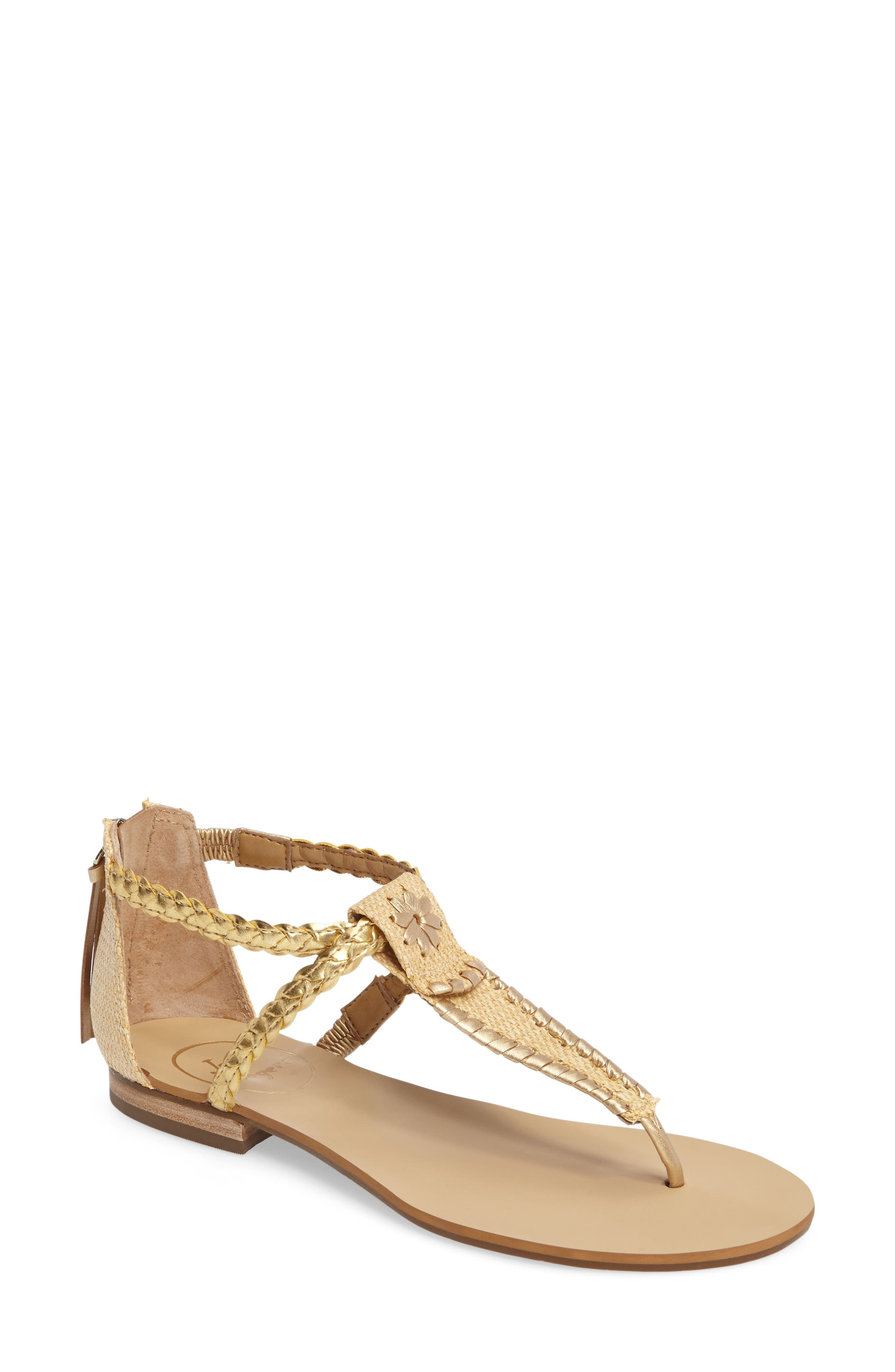 Jenna Sandal,                             Main thumbnail 1, color,                             Natural/ Gold Fabric