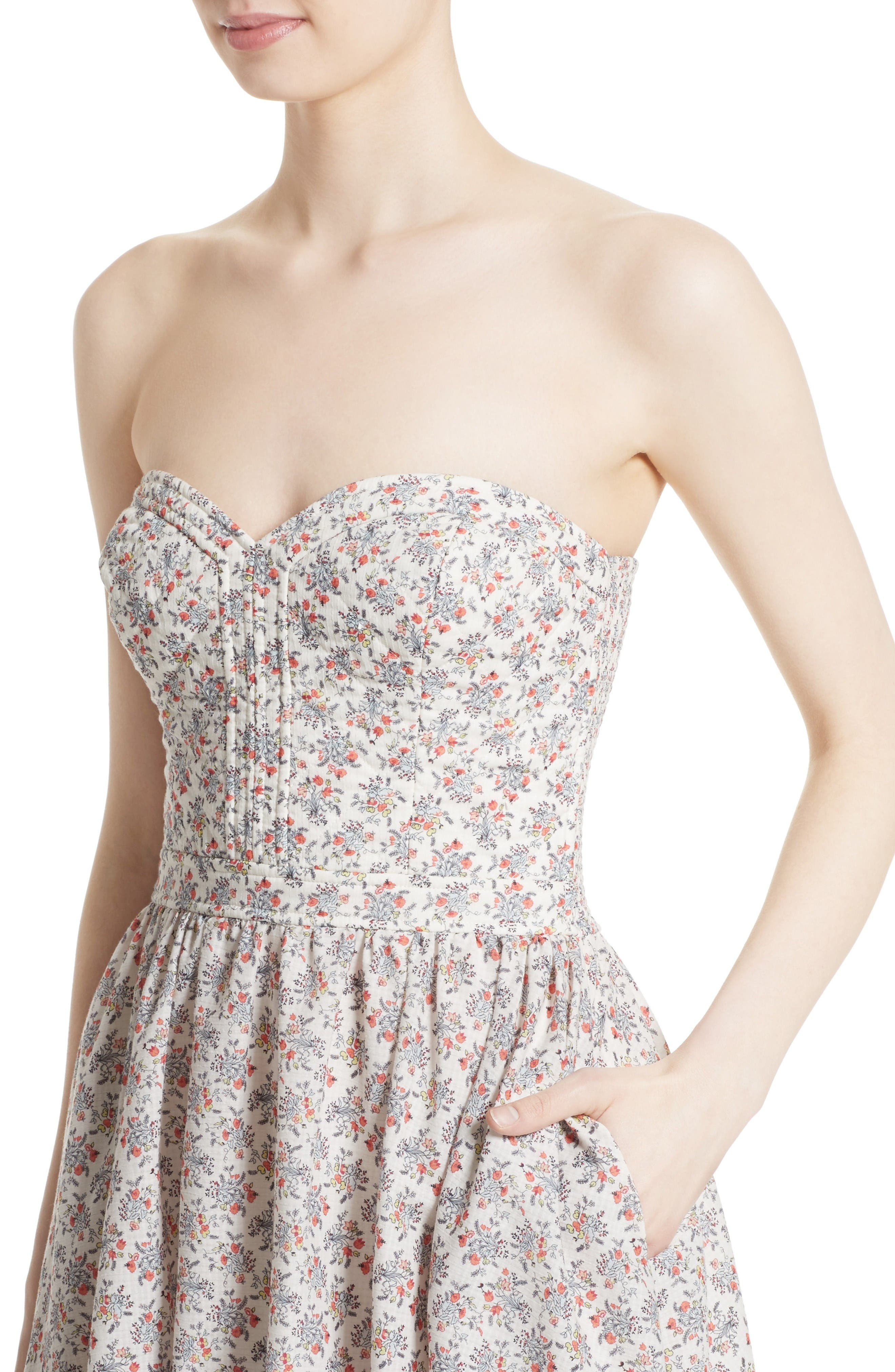 Provençal Strapless Dress,                             Alternate thumbnail 4, color,                             Creamsicle Combo