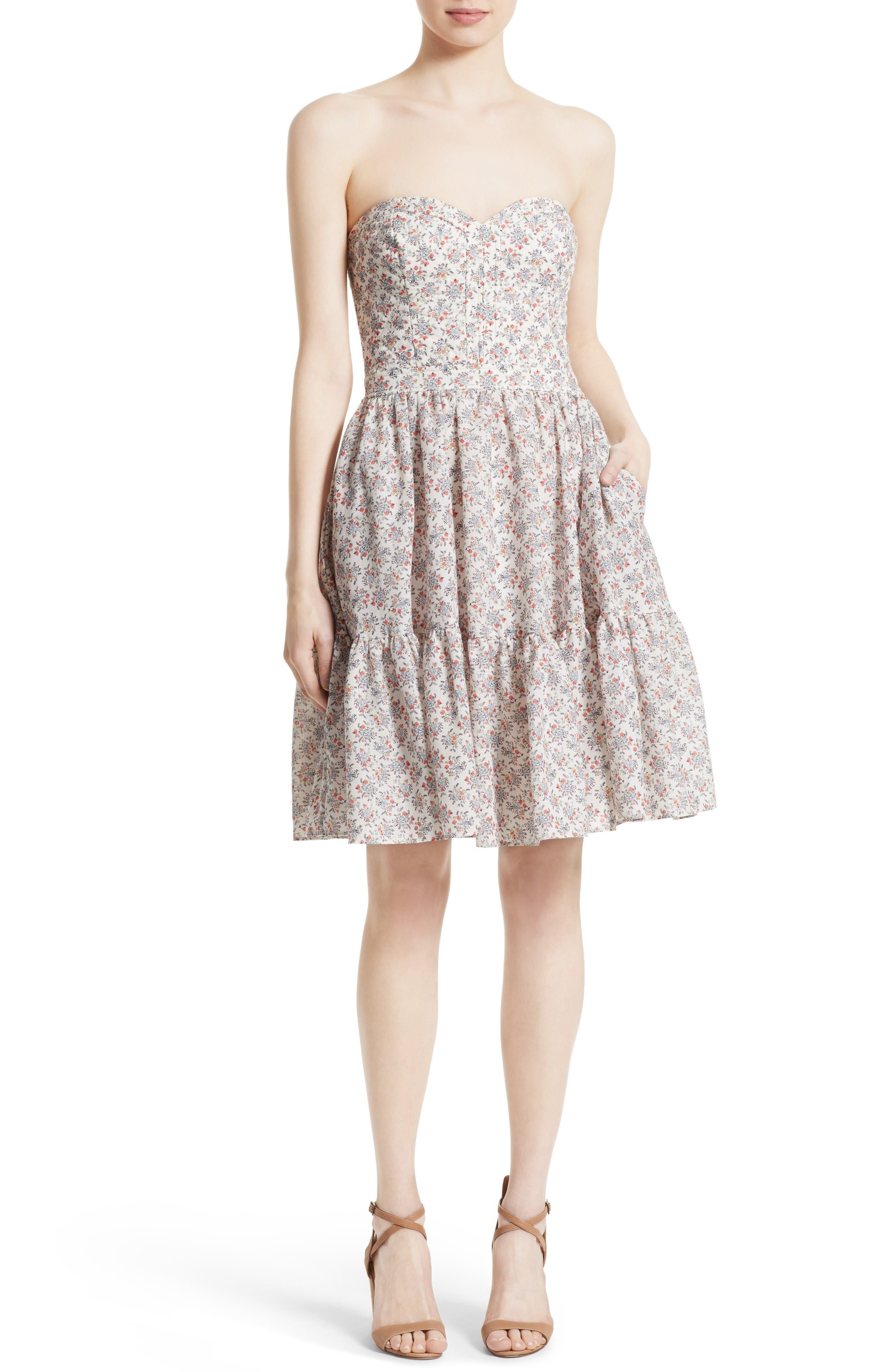Provençal Strapless Dress,                         Main,                         color, Creamsicle Combo