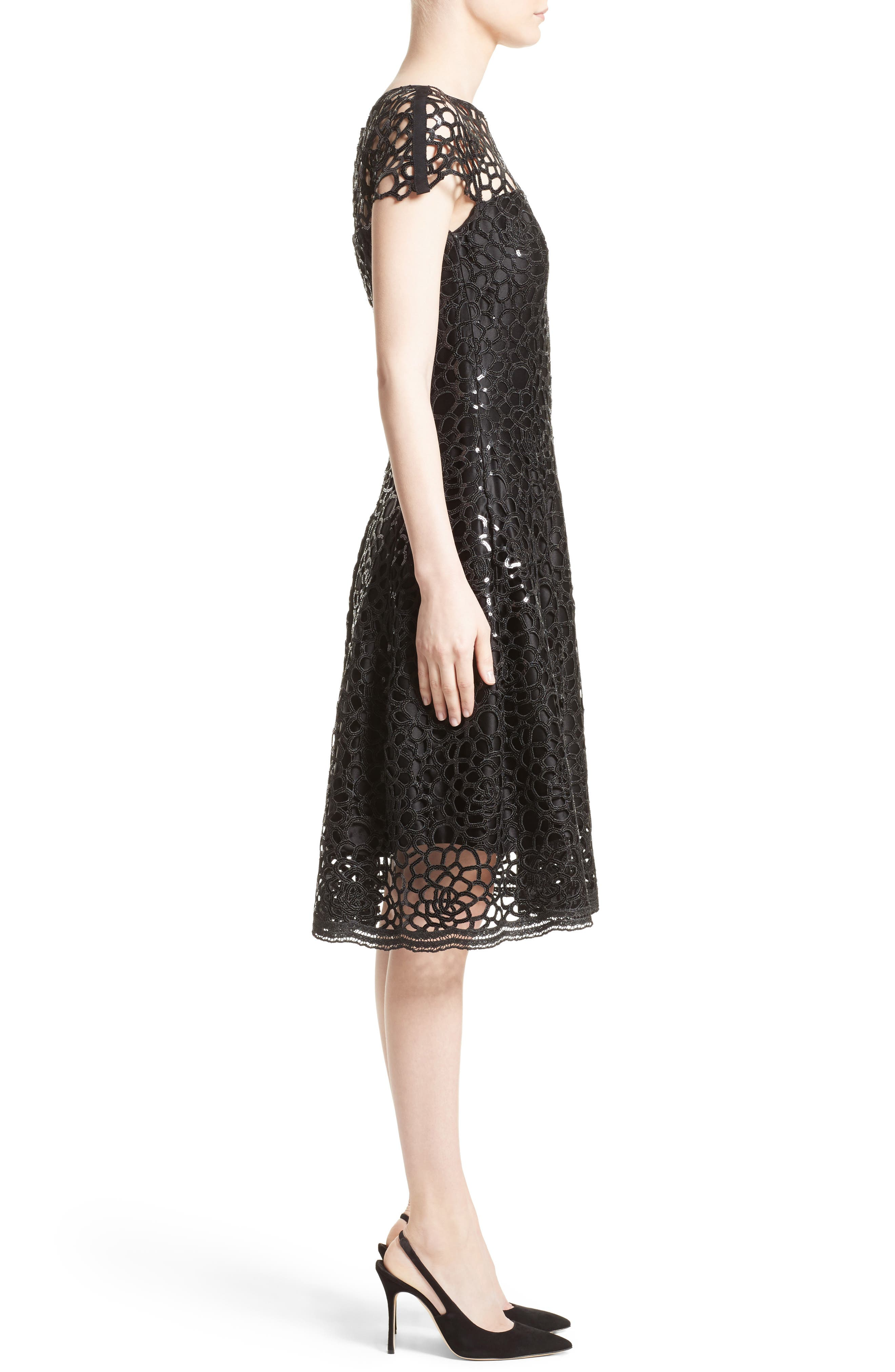 Alternate Image 4  - Talbot Runhof Sequin Cutout Fit & Flare Dress
