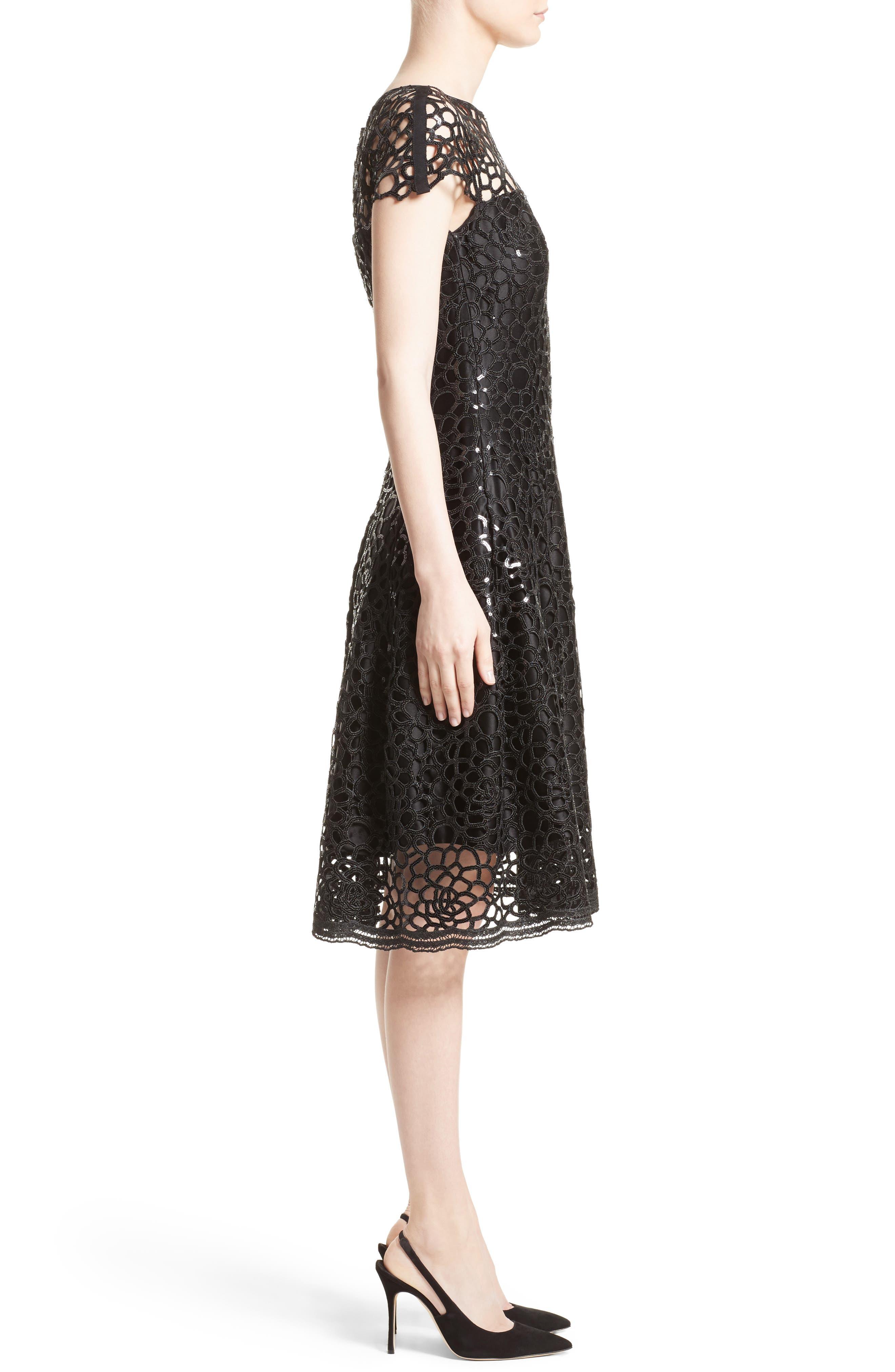 Sequin Cutout Fit & Flare Dress,                             Alternate thumbnail 4, color,                             Black