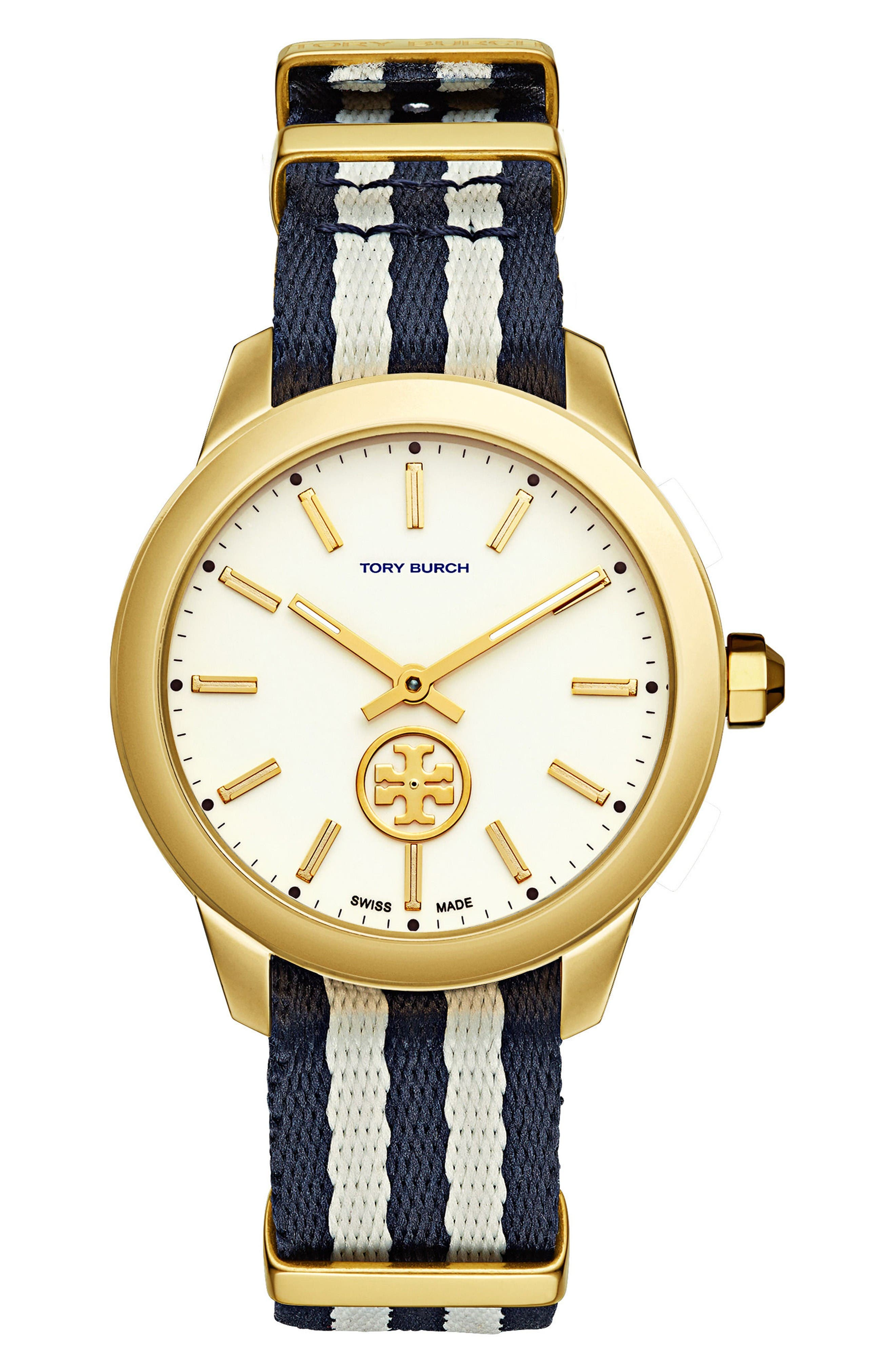 Tory Burch Collins Grosgrain Strap Watch, 38mm