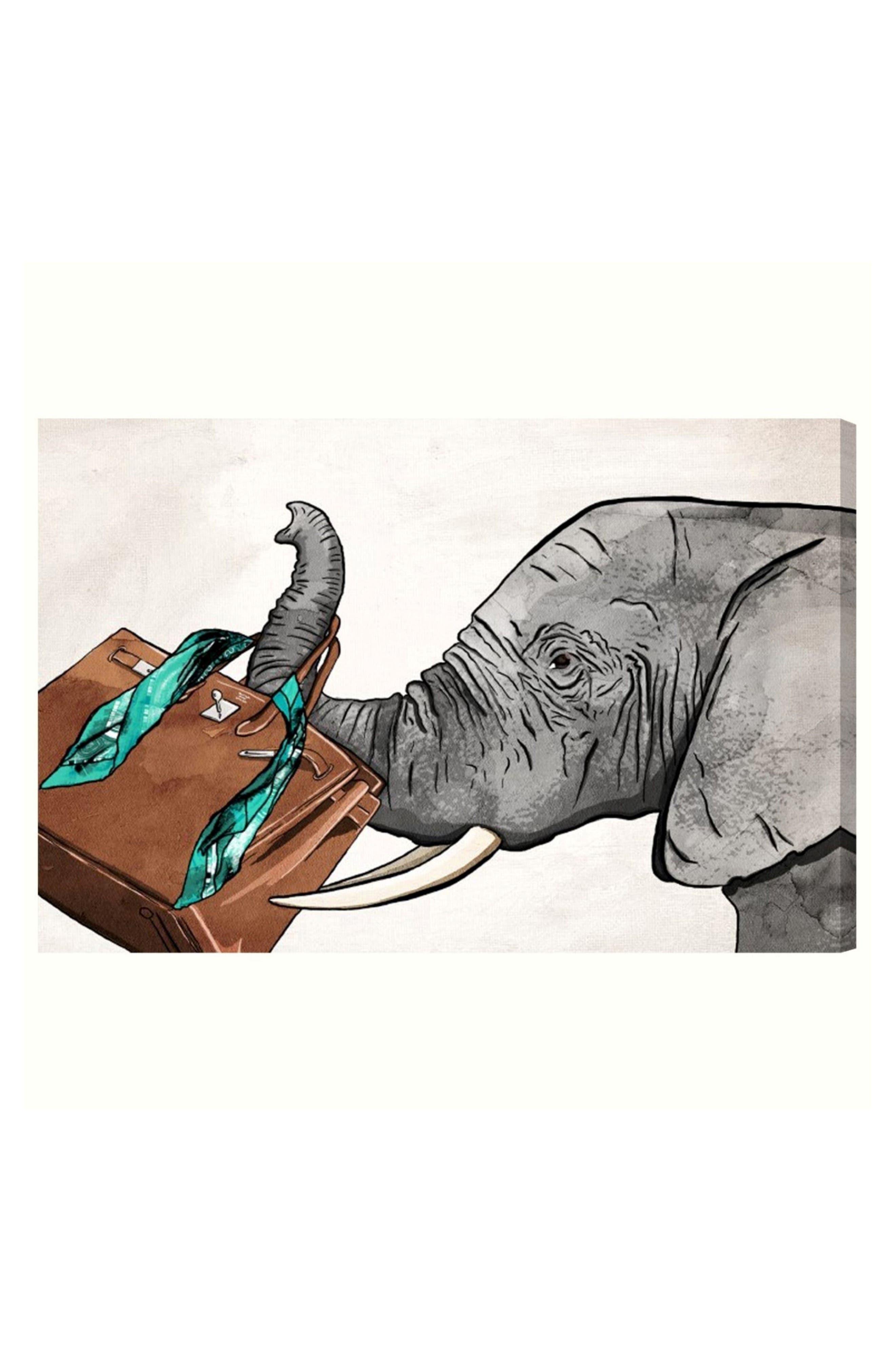 Fashion Elephant Canvas Wall Art,                         Main,                         color, White