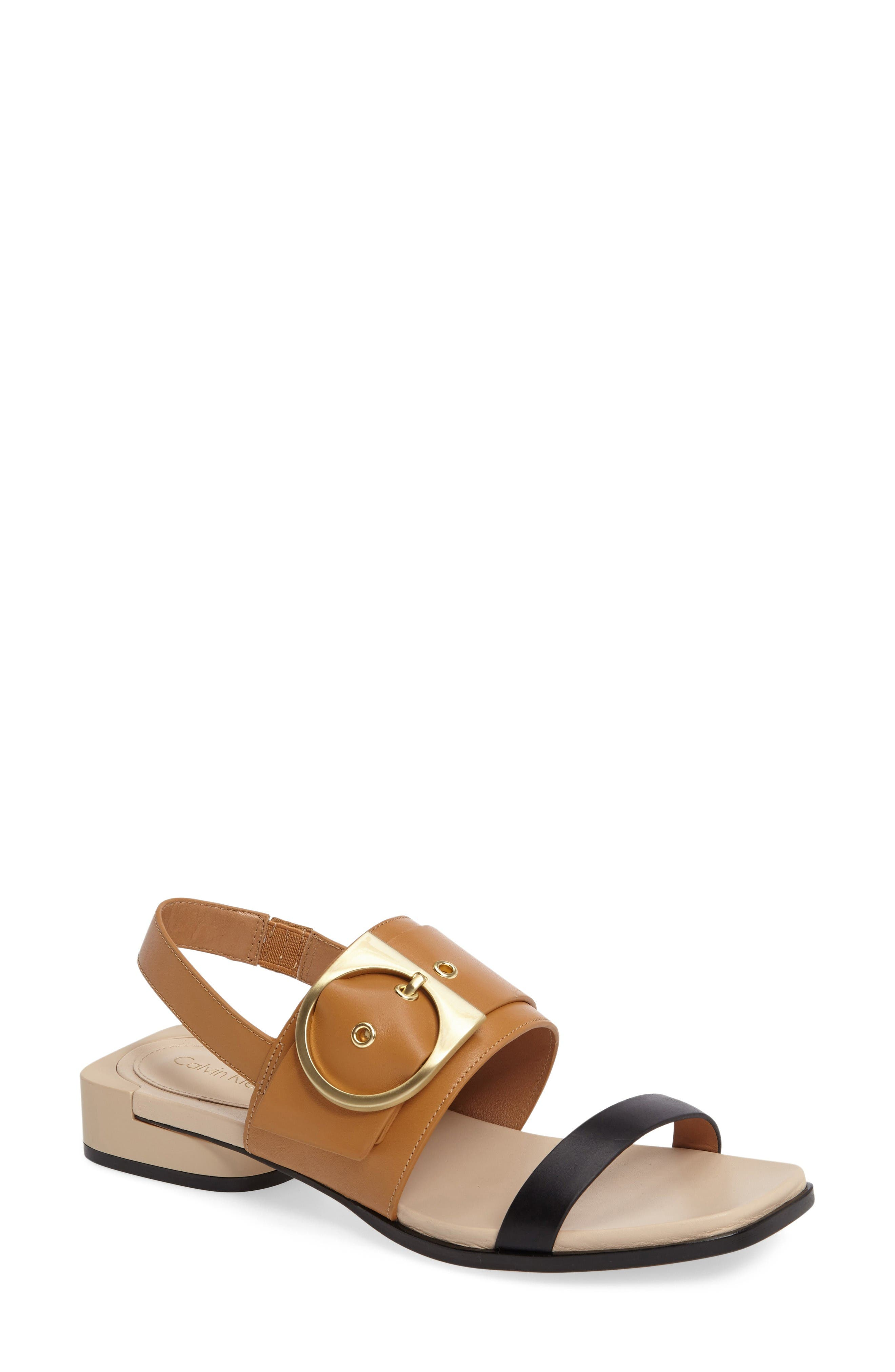 Abree Sandal,                         Main,                         color, Black/ Almond Leather