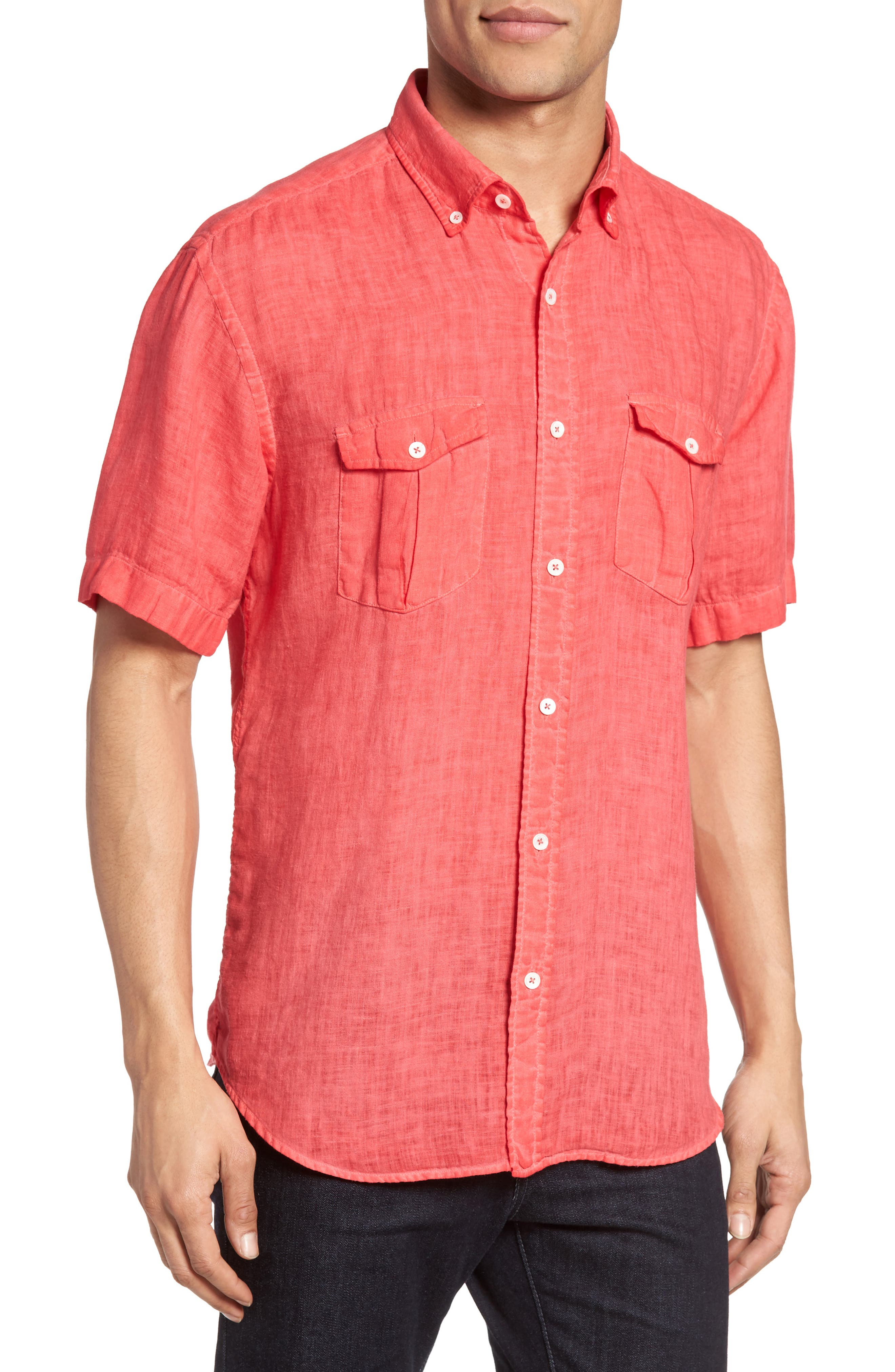 Shaped Fit Linen Sport Shirt,                         Main,                         color, Ruby