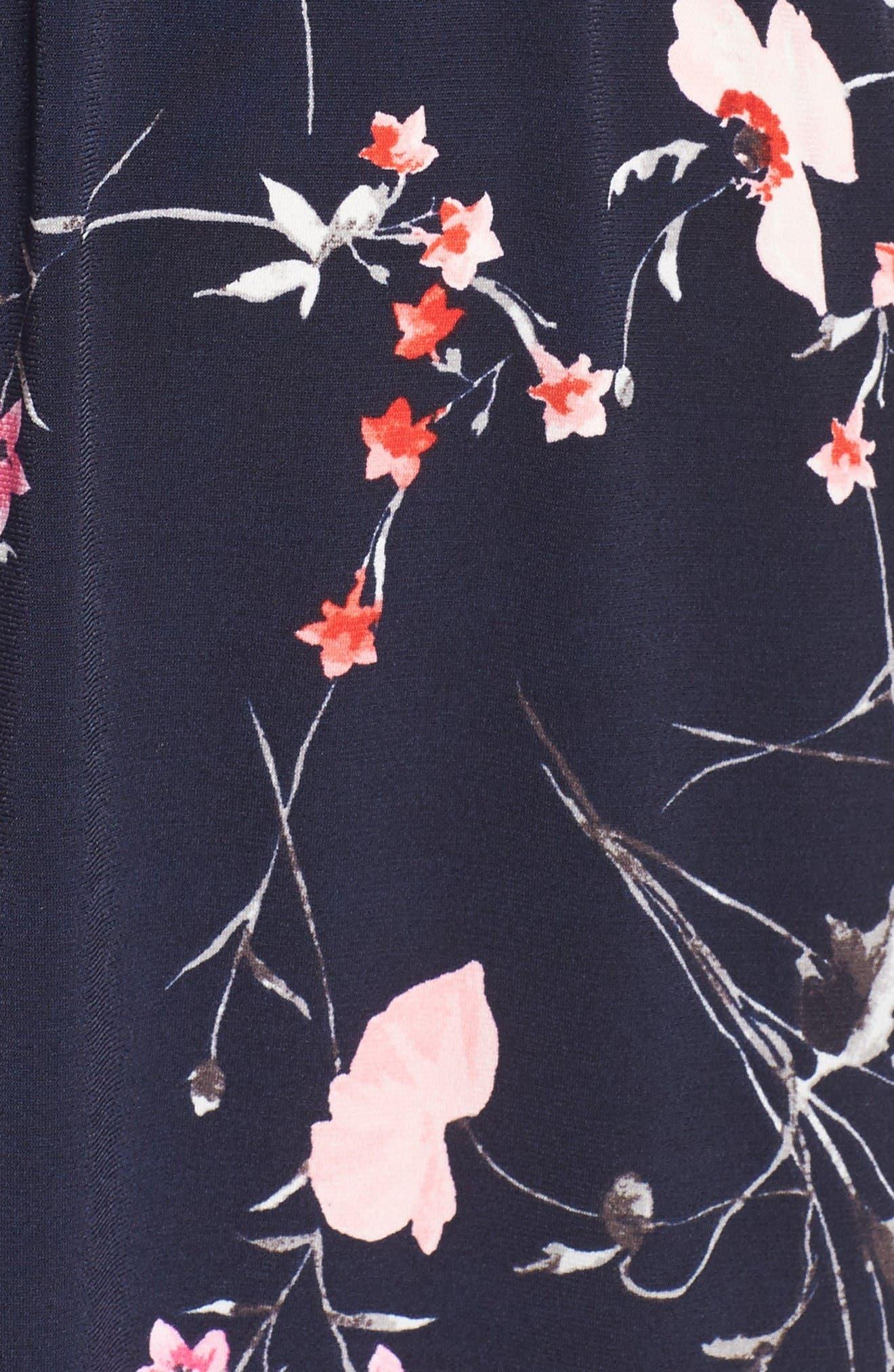 Print Surplice Dress,                             Alternate thumbnail 6, color,                             Navy/ Pink