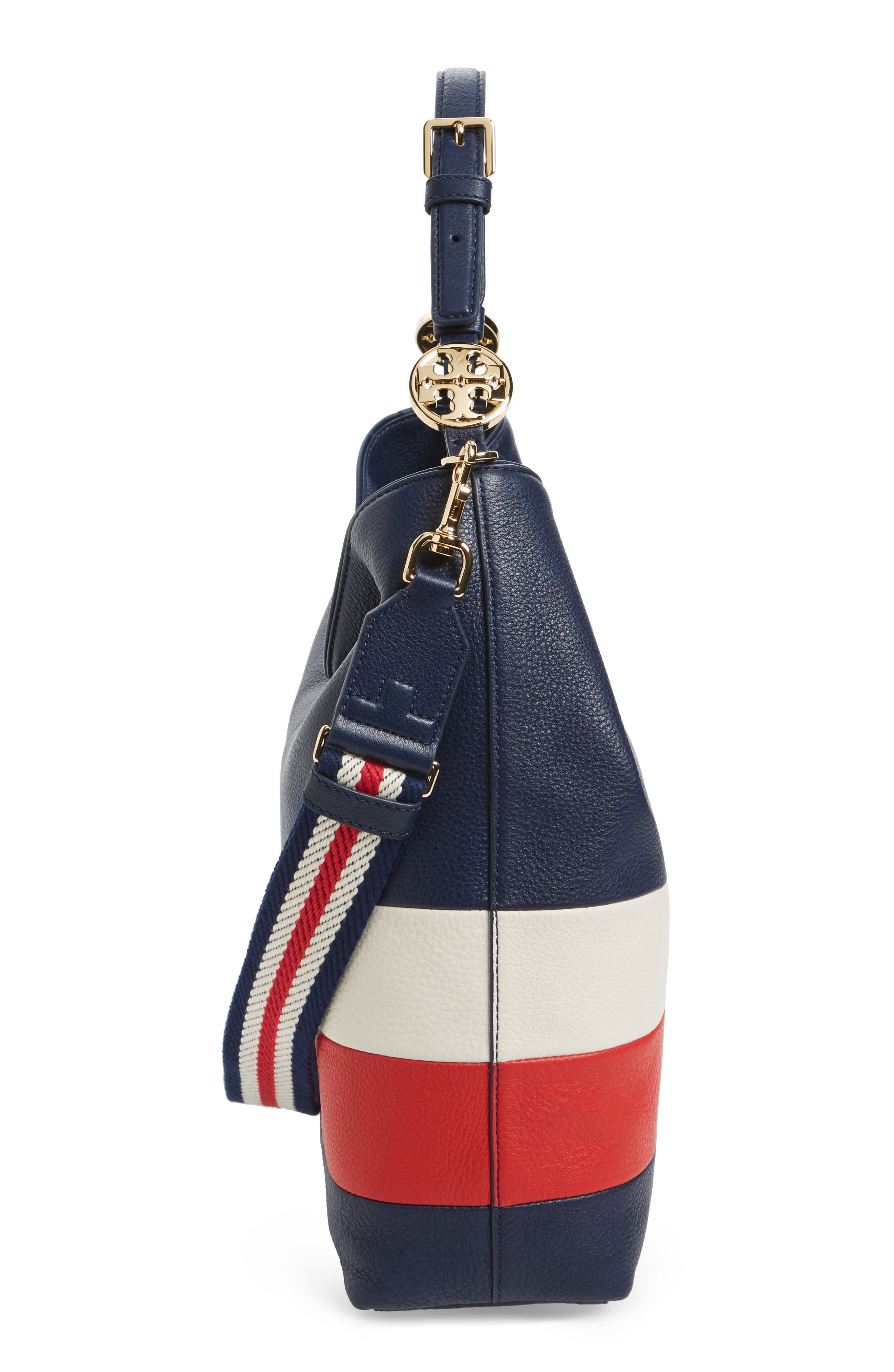 Alternate Image 5  - Tory Burch Stripe Duet Leather Hobo