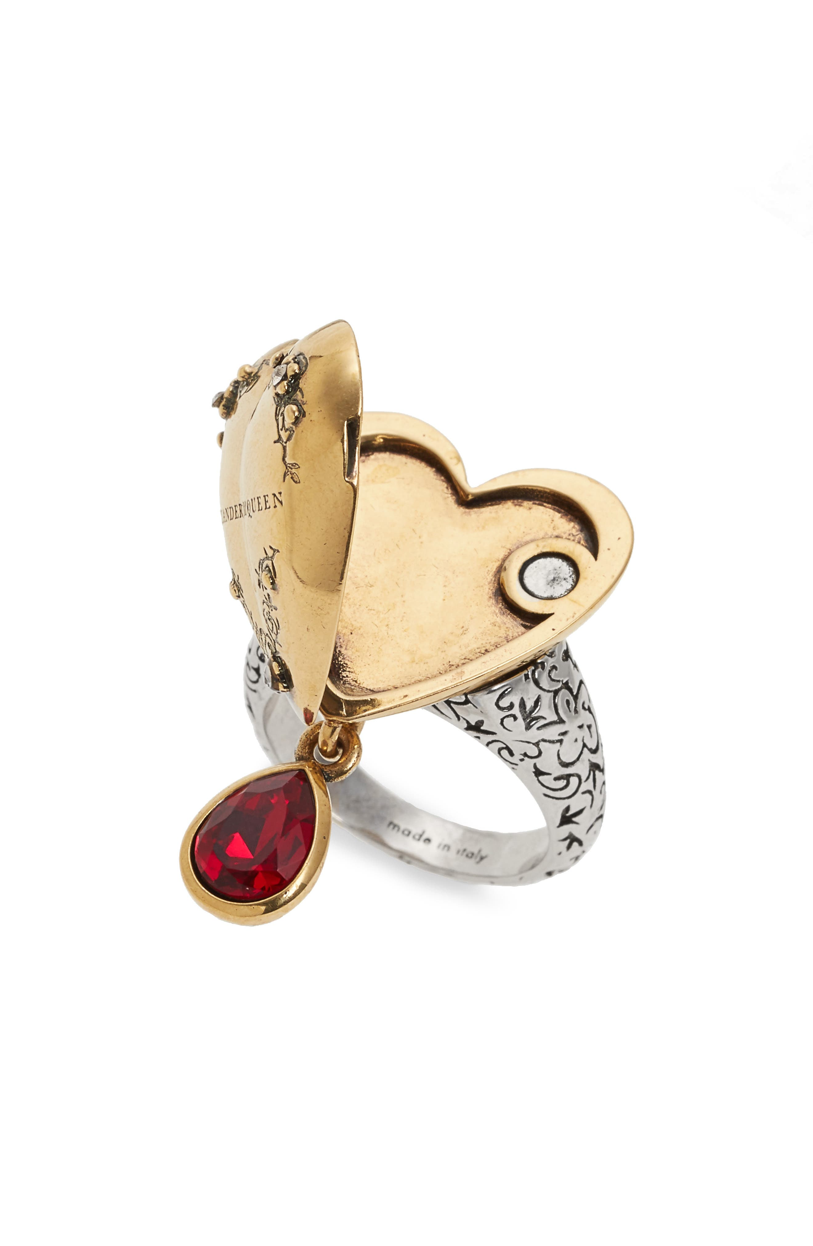 Jeweled Locket Ring,                             Alternate thumbnail 2, color,                             Red