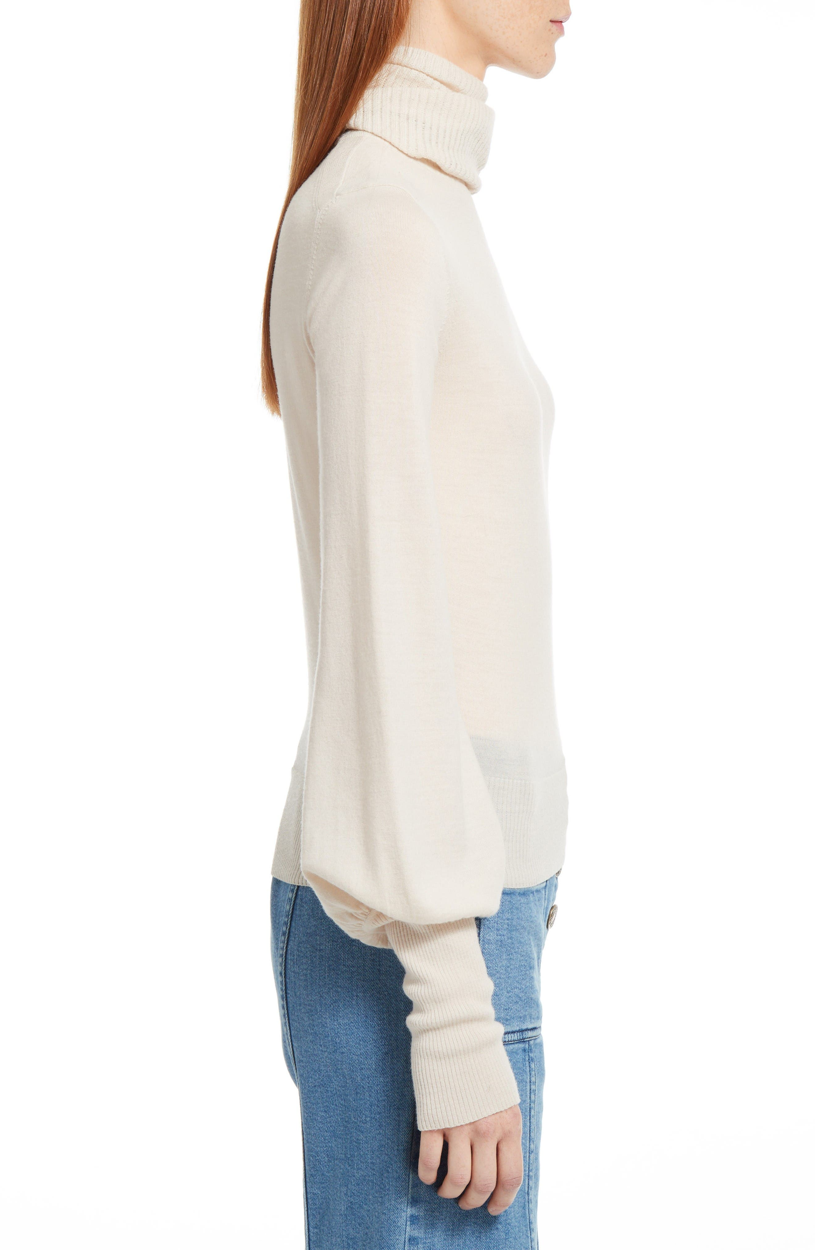 Wool Turtleneck Sweater,                             Alternate thumbnail 6, color,                             Off White