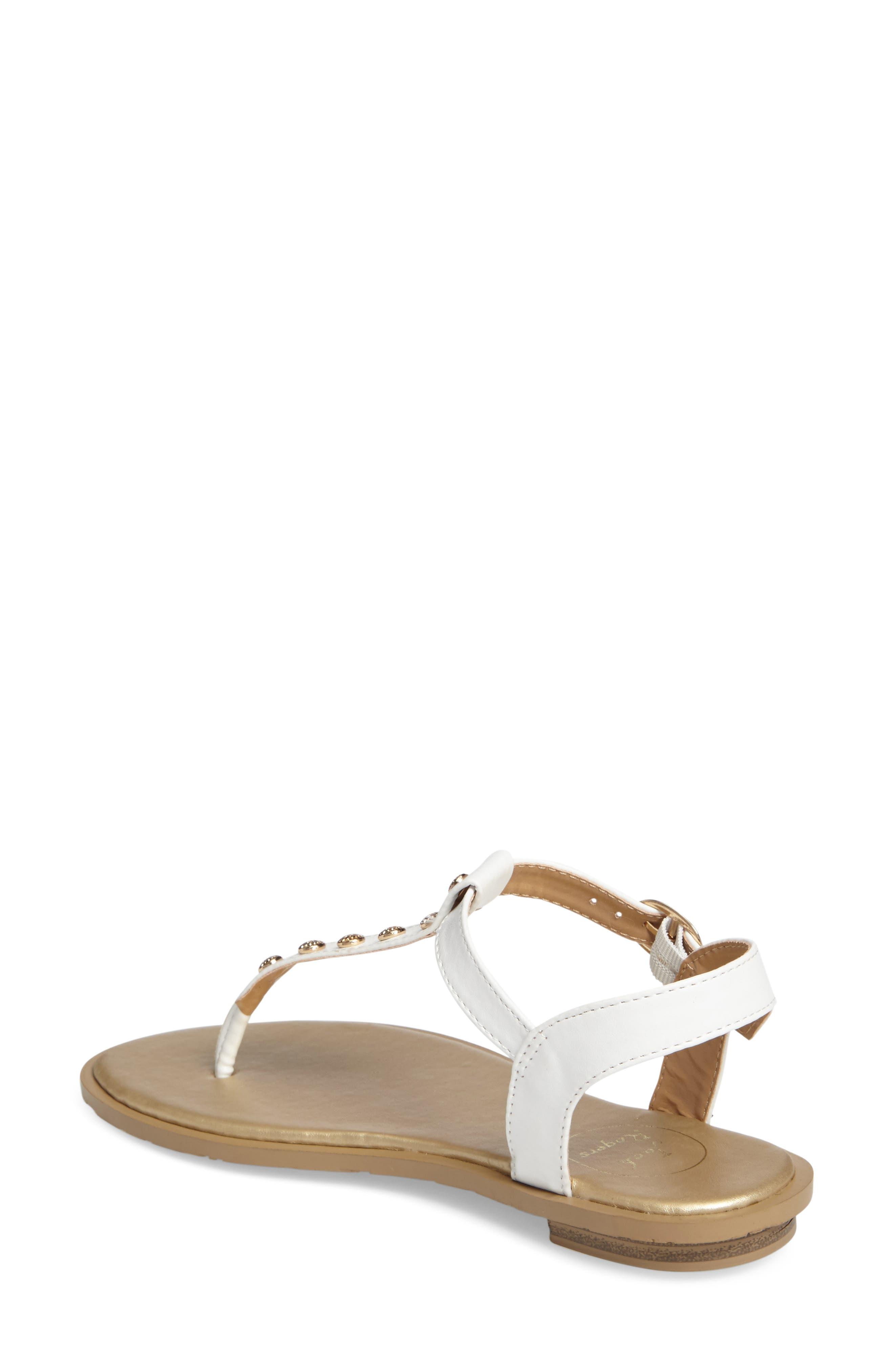 Kamri T-Strap Sandal,                             Alternate thumbnail 2, color,                             White Leather