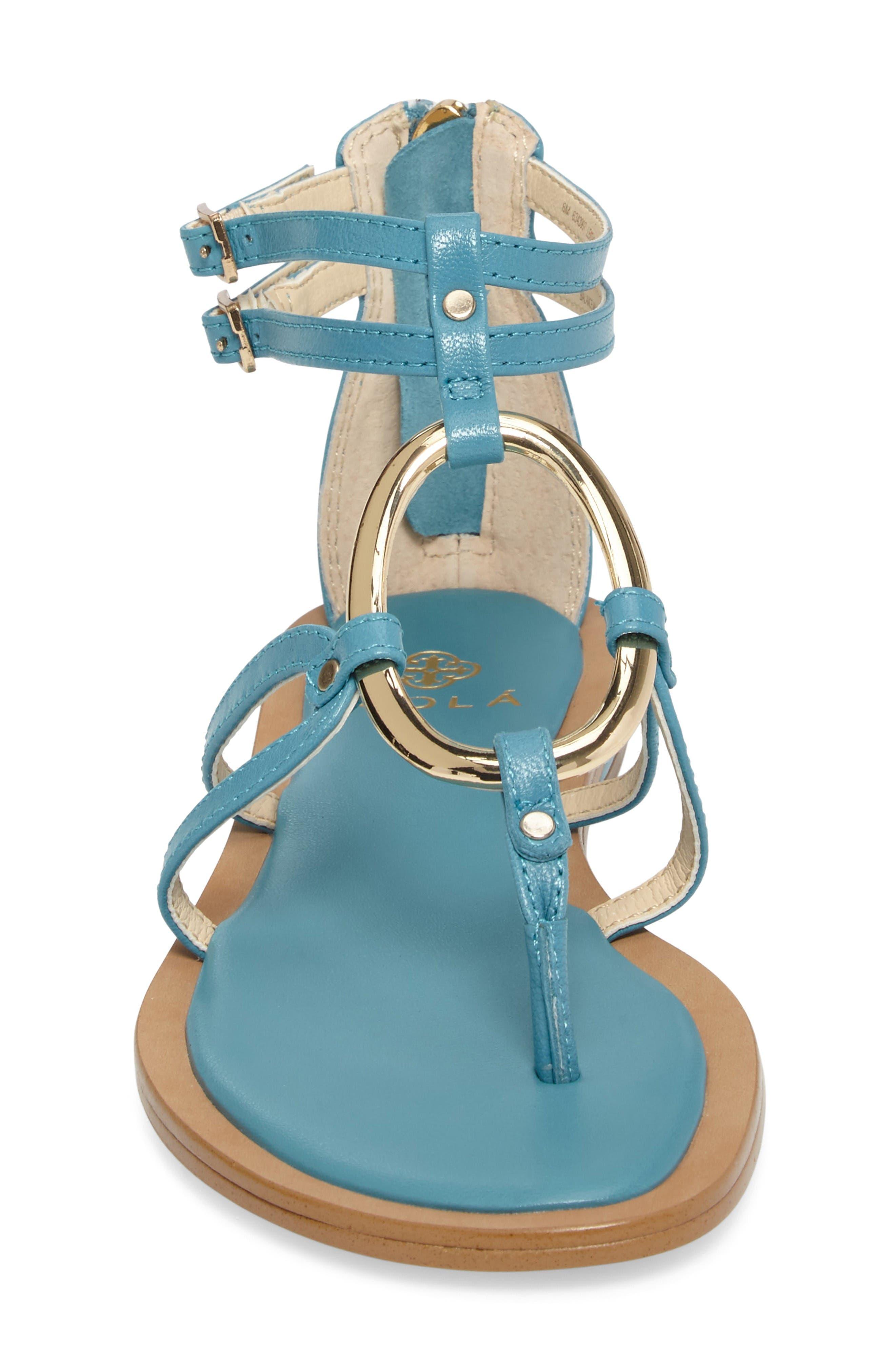 Melaney Sandal,                             Alternate thumbnail 4, color,                             Aqua Leather