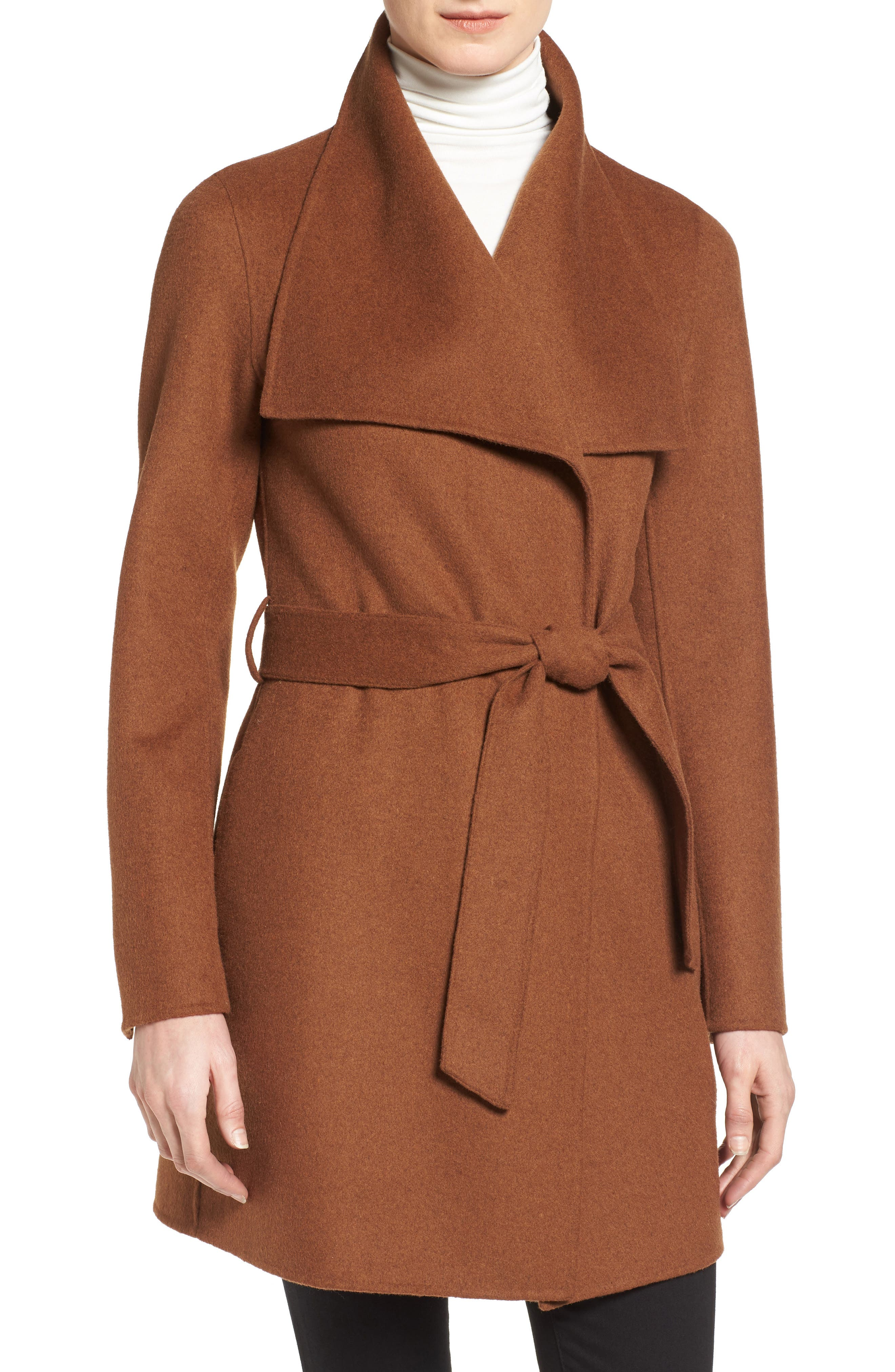 TAHARI Ella Belted Double Face Wool Blend Wrap Coat