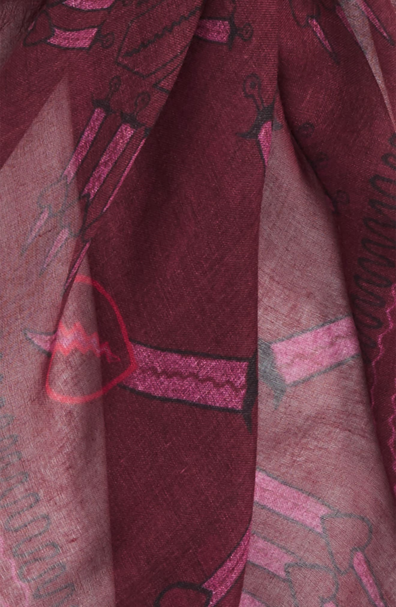 Loveblade Modal & Cashmere Scarf,                             Alternate thumbnail 3, color,                             Crimson
