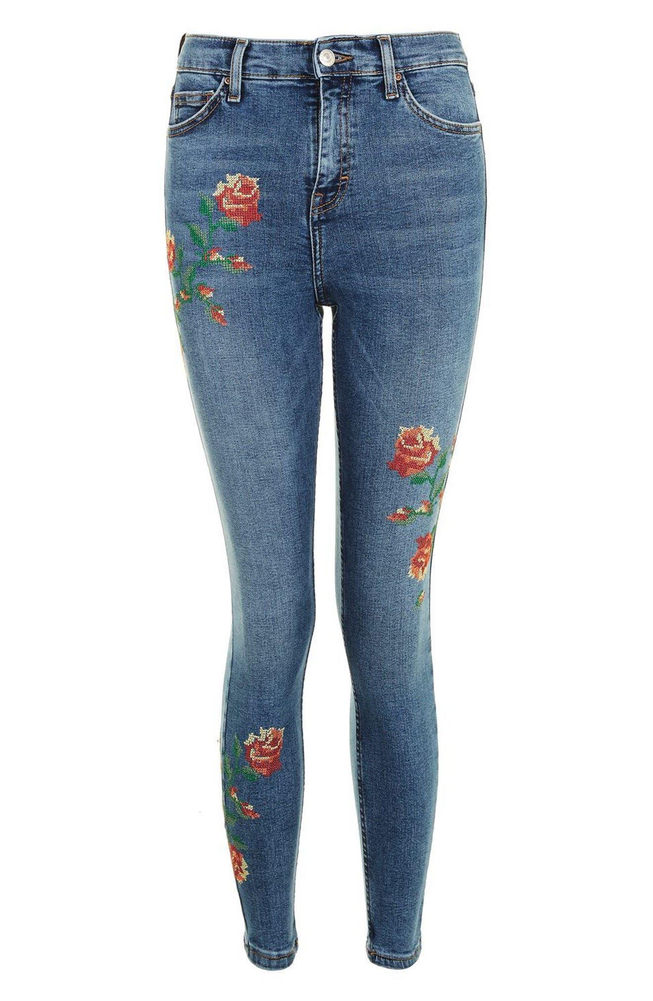 Jamie Embroidered Skinny Jeans,                             Alternate thumbnail 5, color,                             Mid Denim