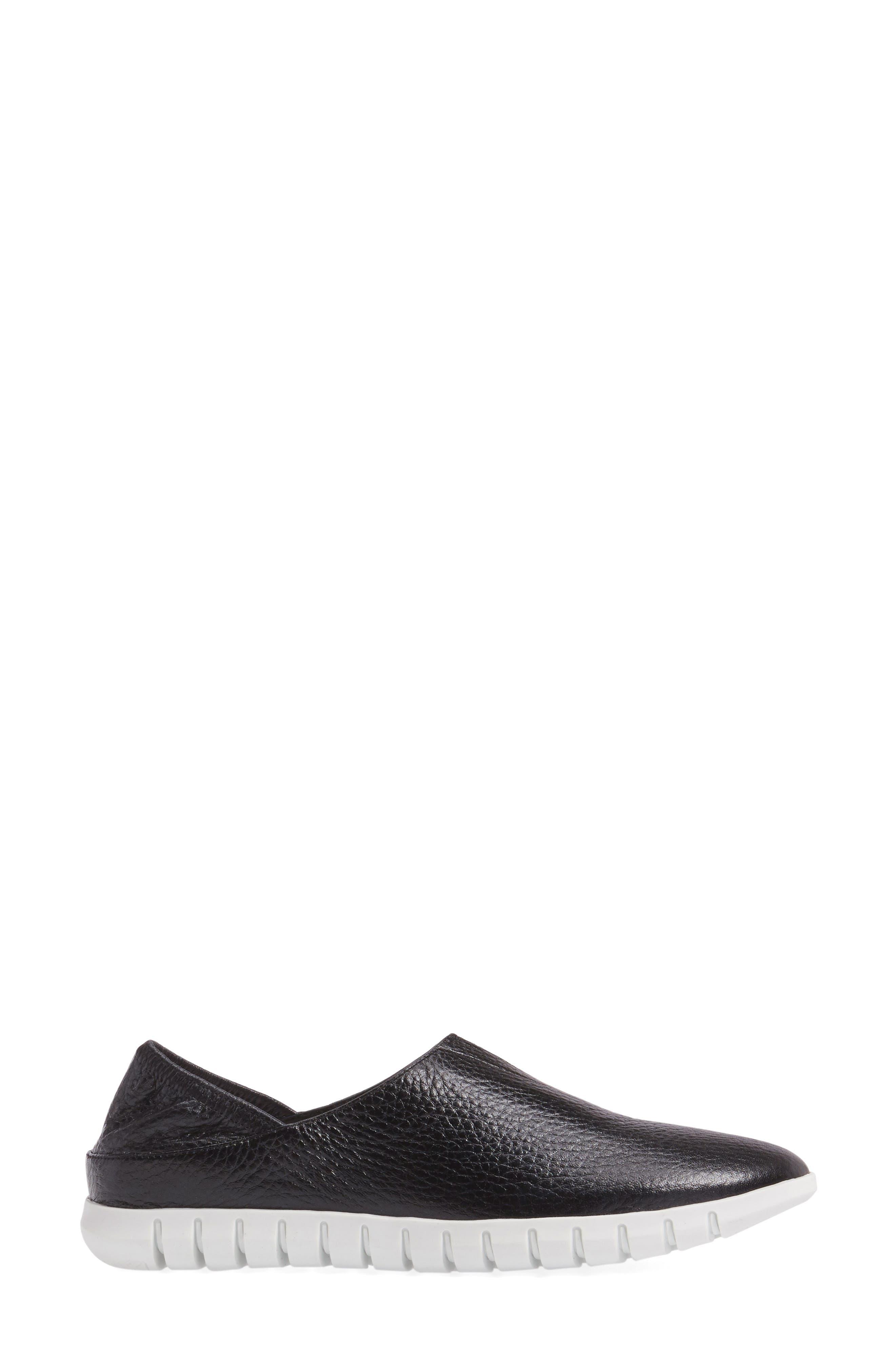 Kim Slip-On Sneaker,                             Alternate thumbnail 3, color,                             Black Leather