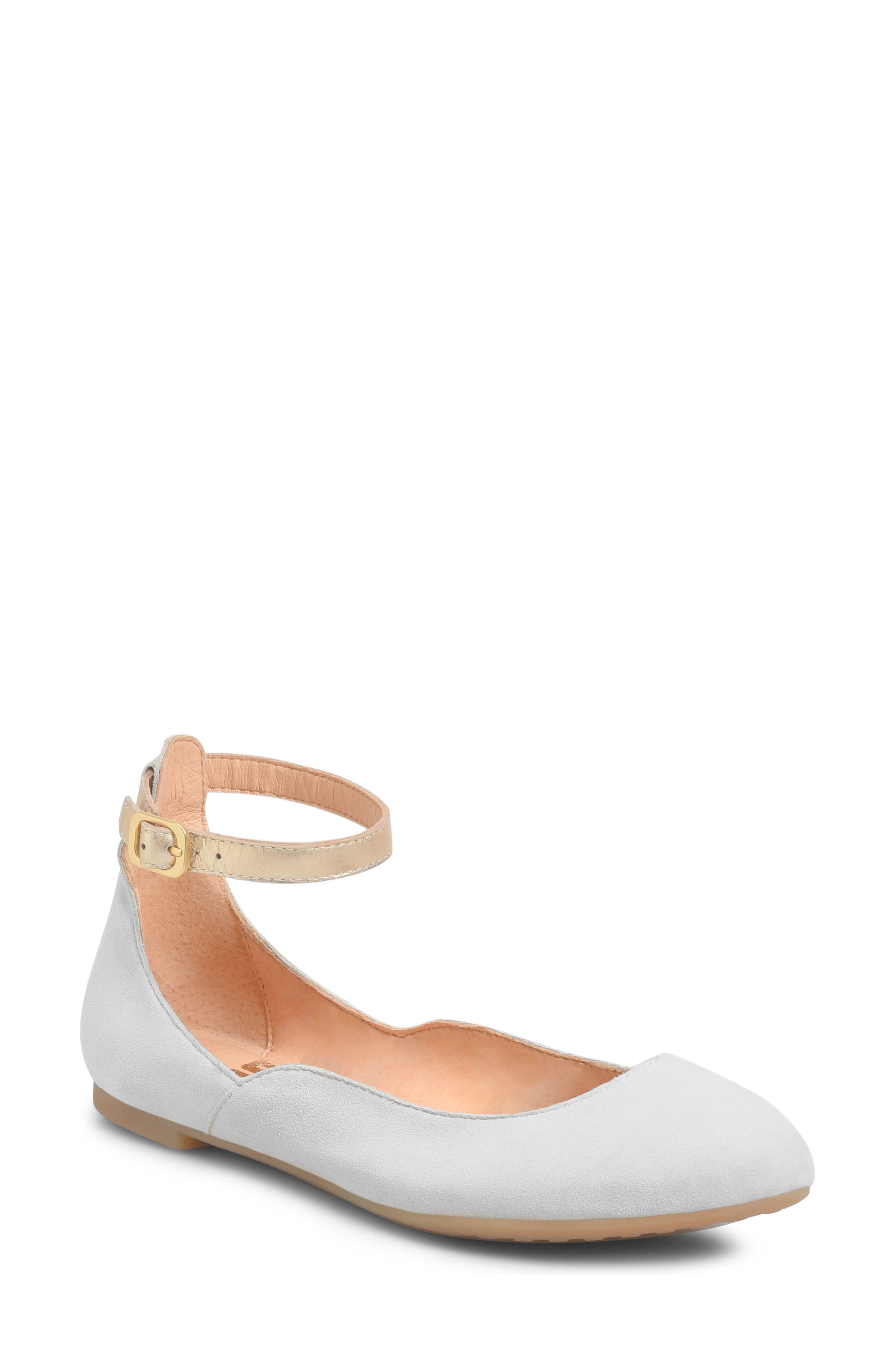 Luchia Ankle Strap Flat,                             Main thumbnail 1, color,                             Light Grey/ Gold Leather