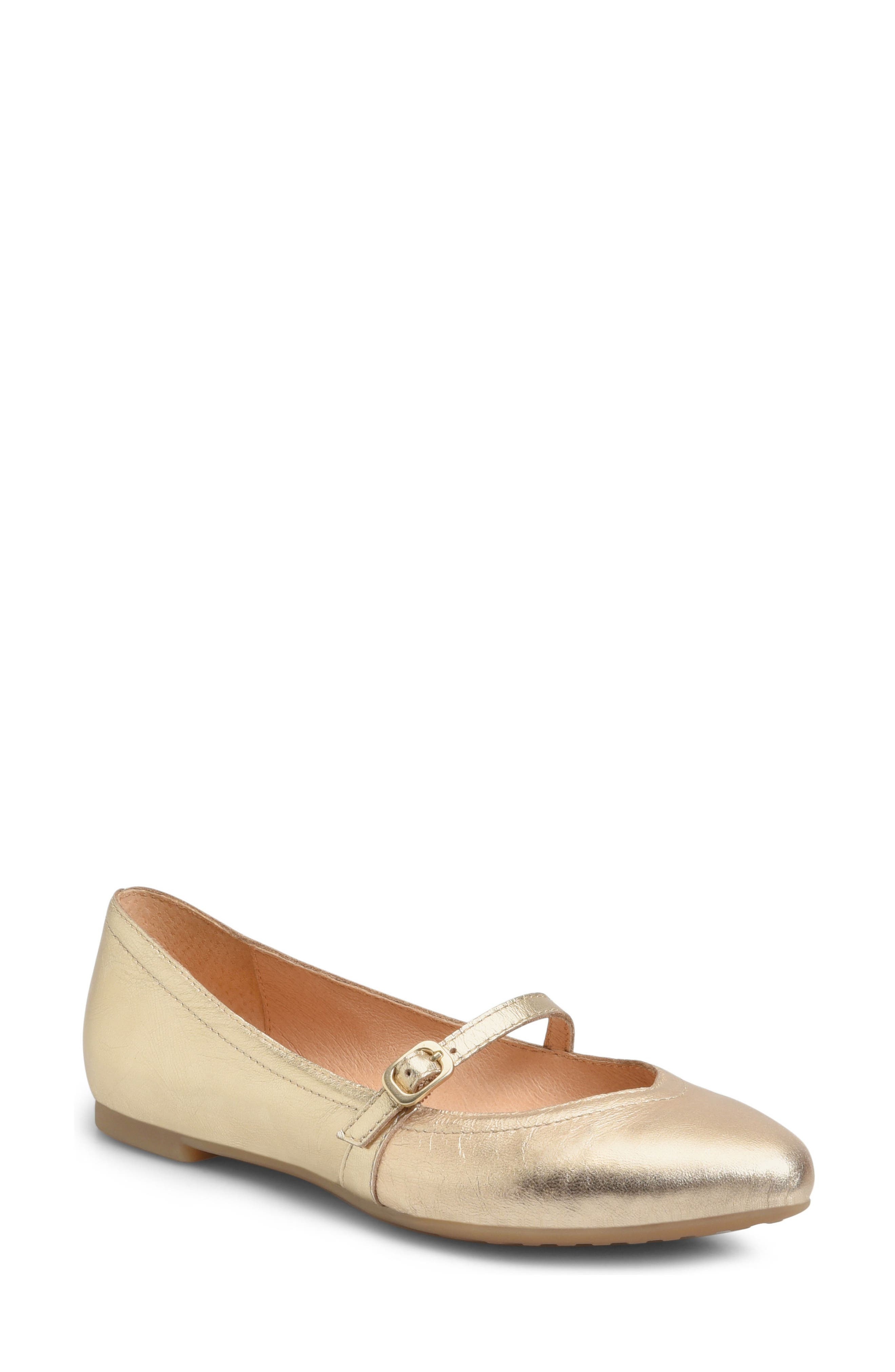 Lynn Mary Jane Flat,                             Main thumbnail 1, color,                             Gold Leather