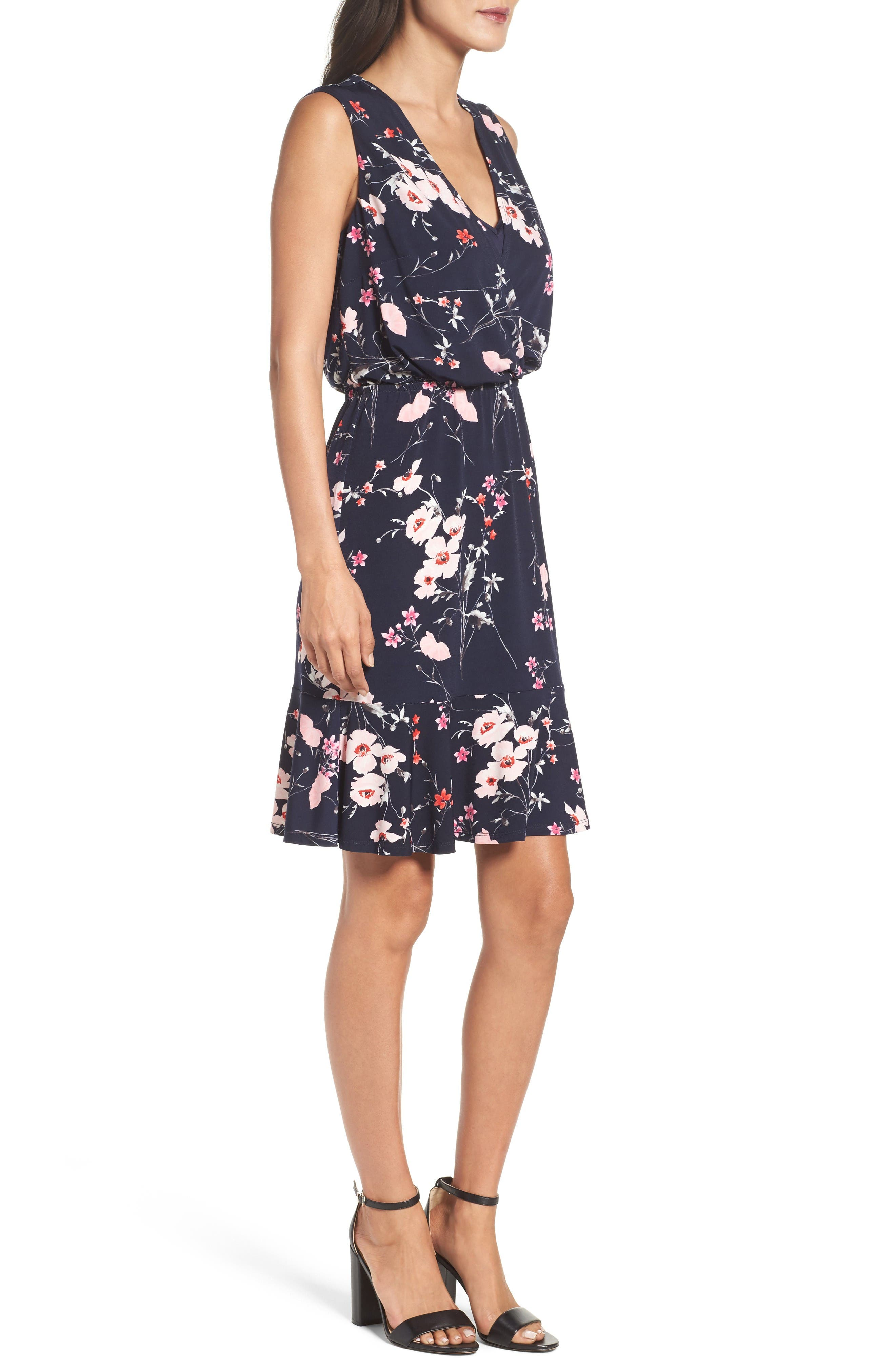 Print Surplice Dress,                             Alternate thumbnail 3, color,                             Navy/ Pink