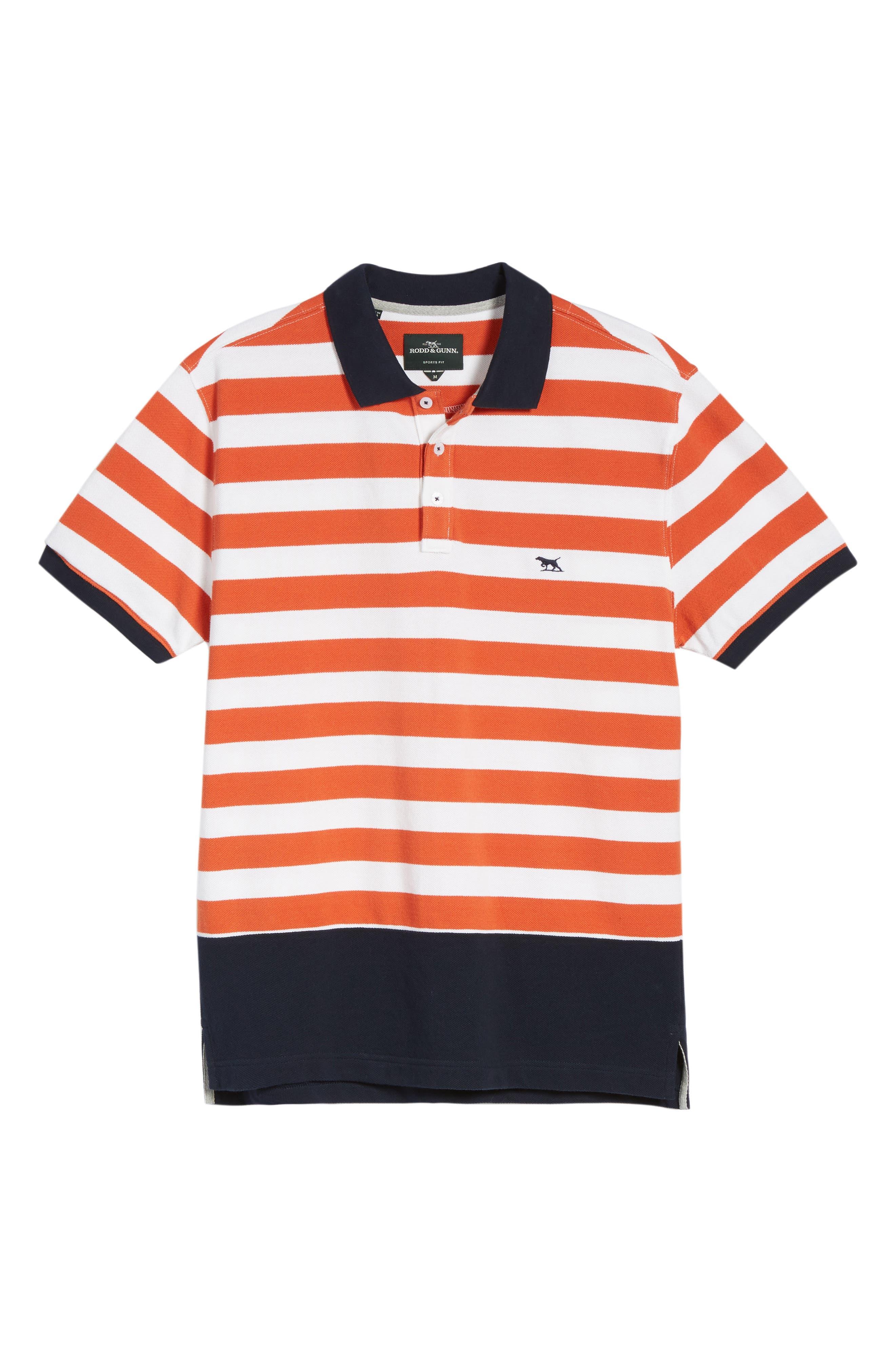 Wallingford Sport Fit Stripe Polo,                             Alternate thumbnail 6, color,                             Ochre