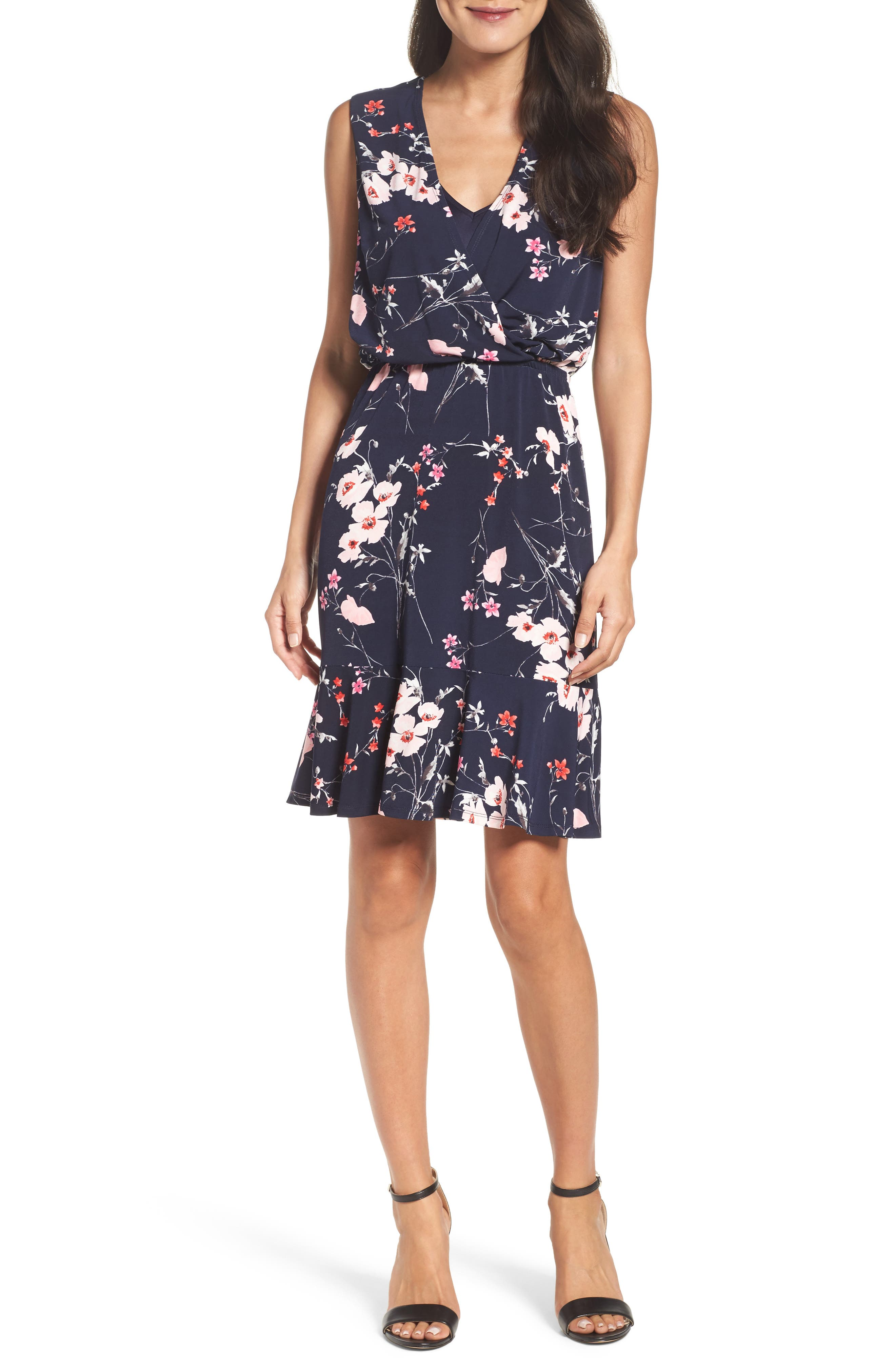 Print Surplice Dress,                             Main thumbnail 1, color,                             Navy/ Pink