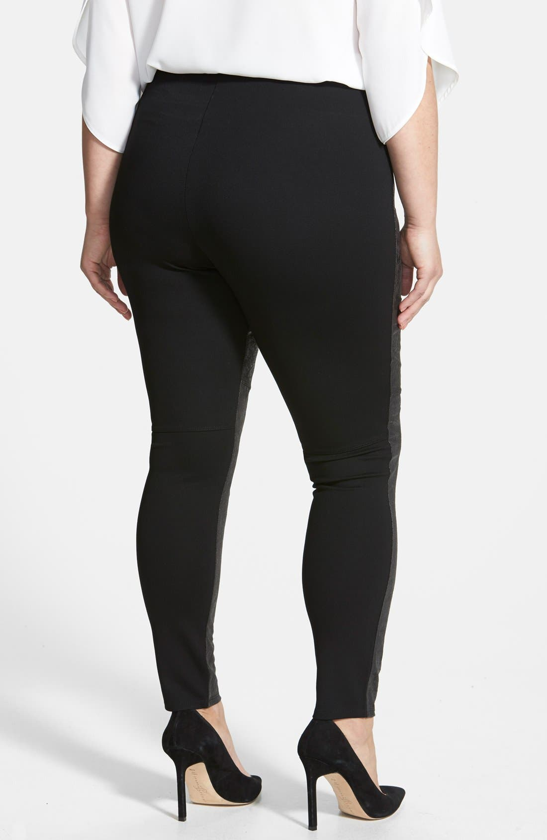 Alternate Image 2  - Lyssé Distressed Faux Leather & Ponte Knit Leggings (Plus Size)
