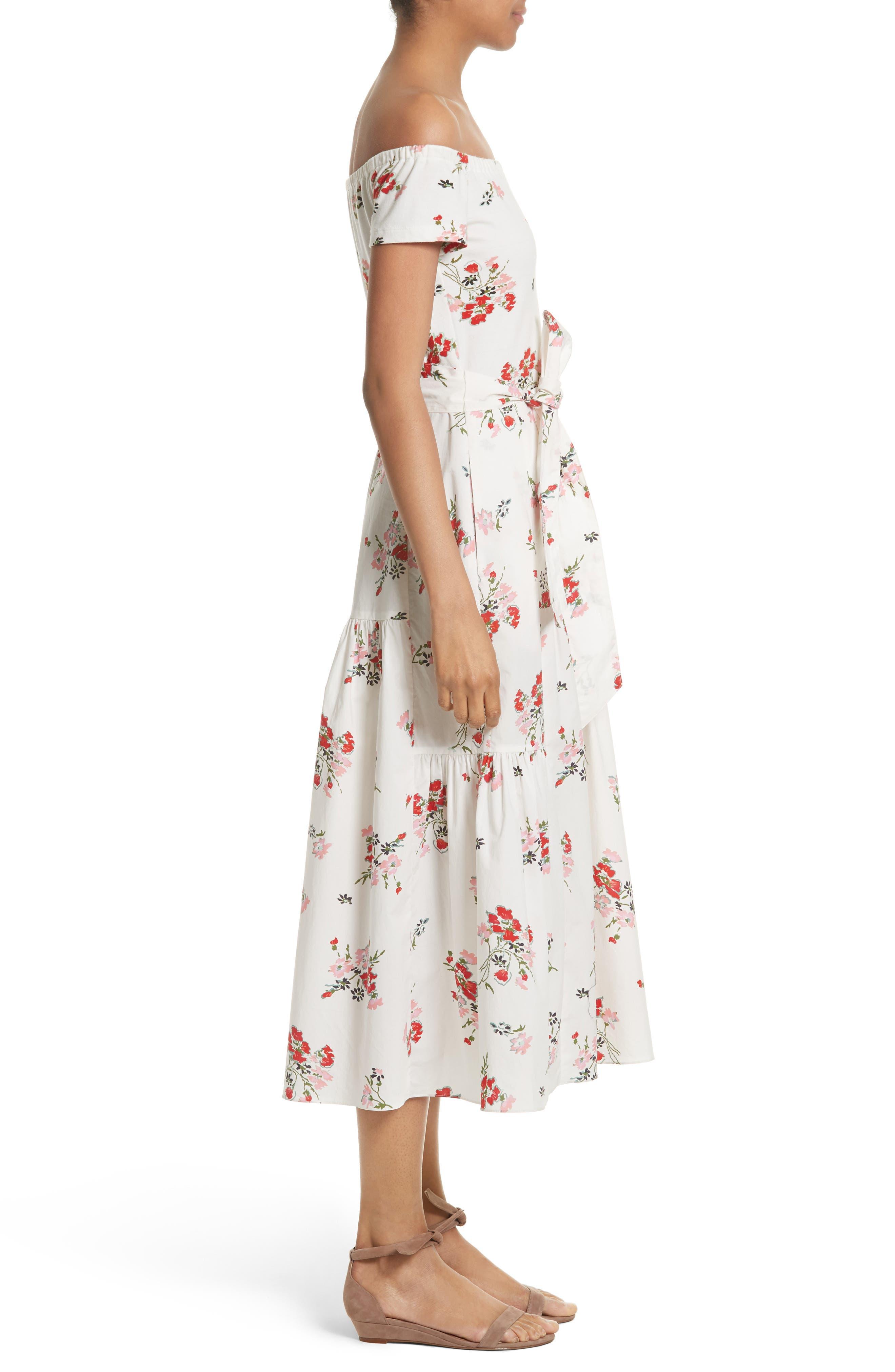 Marguerite Floral Off the Shoulder Midi Dress,                             Alternate thumbnail 4, color,                             Snow
