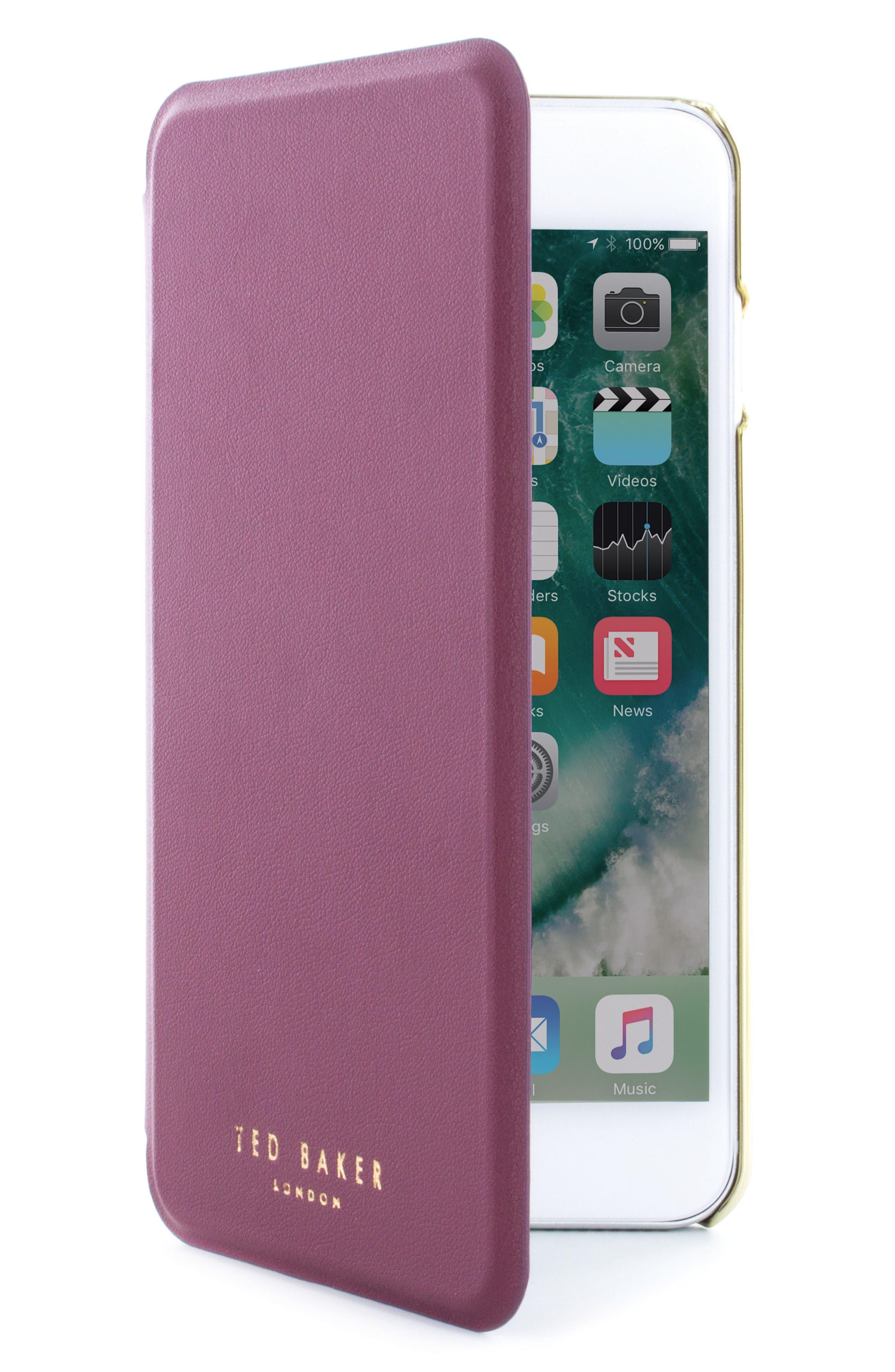 Shannon iPhone 6/6s/7/8 Plus Mirror Folio Case,                         Main,                         color, Red