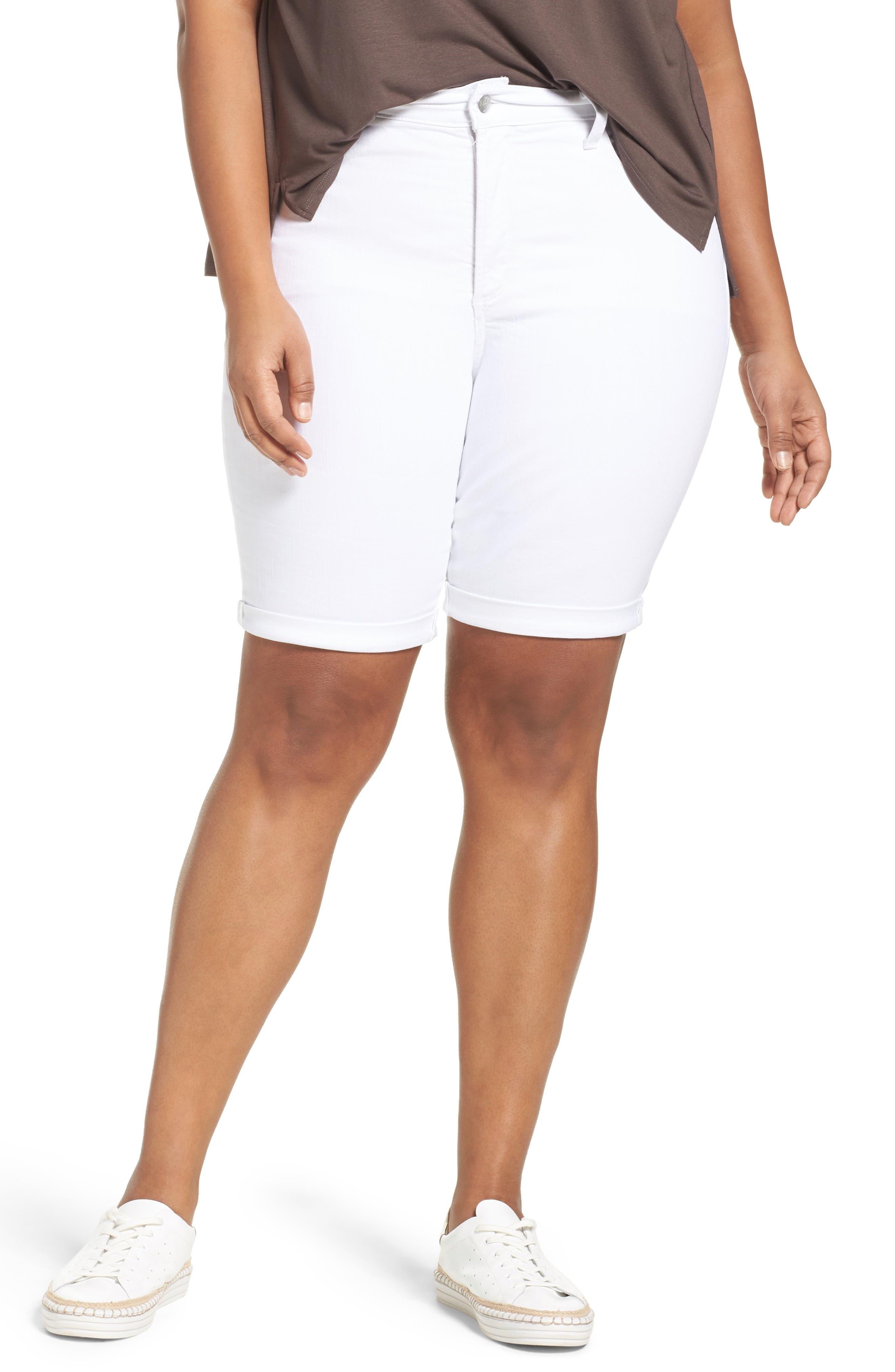 Main Image - NYDJ Briella Stretch Denim Shorts (Plus Size)