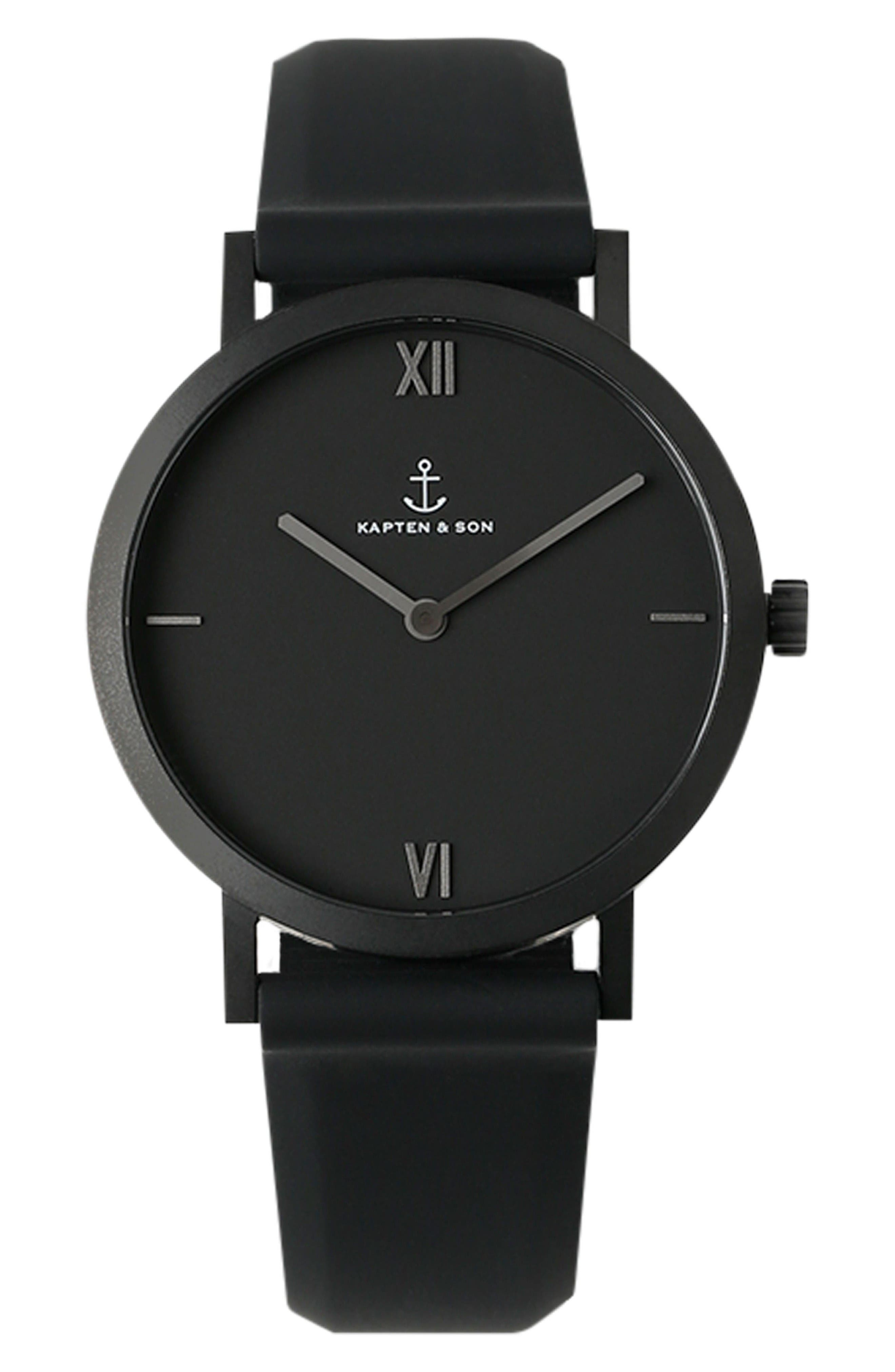 Alternate Image 1 Selected - Kapten and Son Pure Nox Silicone Strap Watch, 38mm