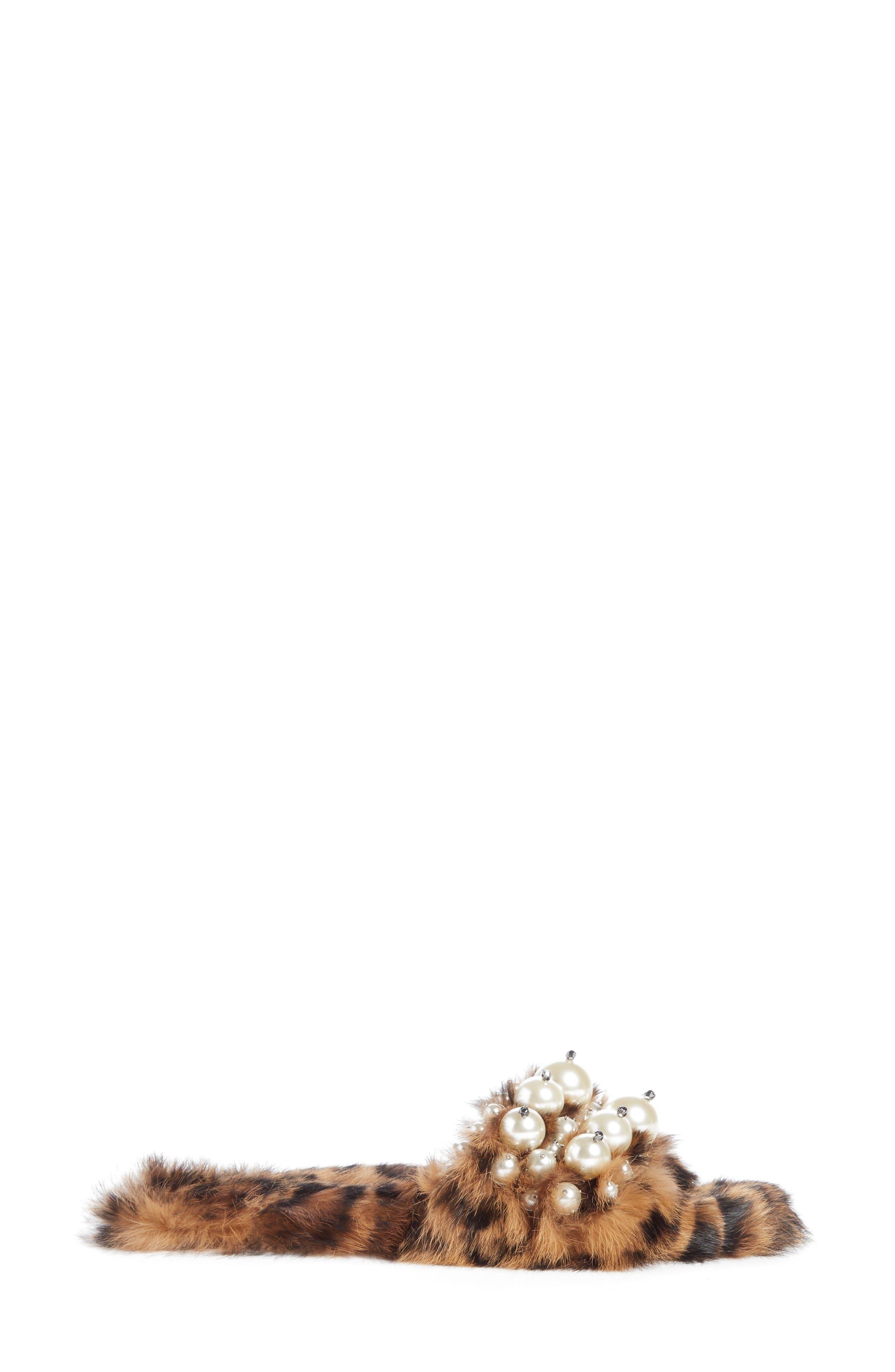 Genuine Rabbit Fur Slide Sandal,                             Alternate thumbnail 4, color,                             Brown