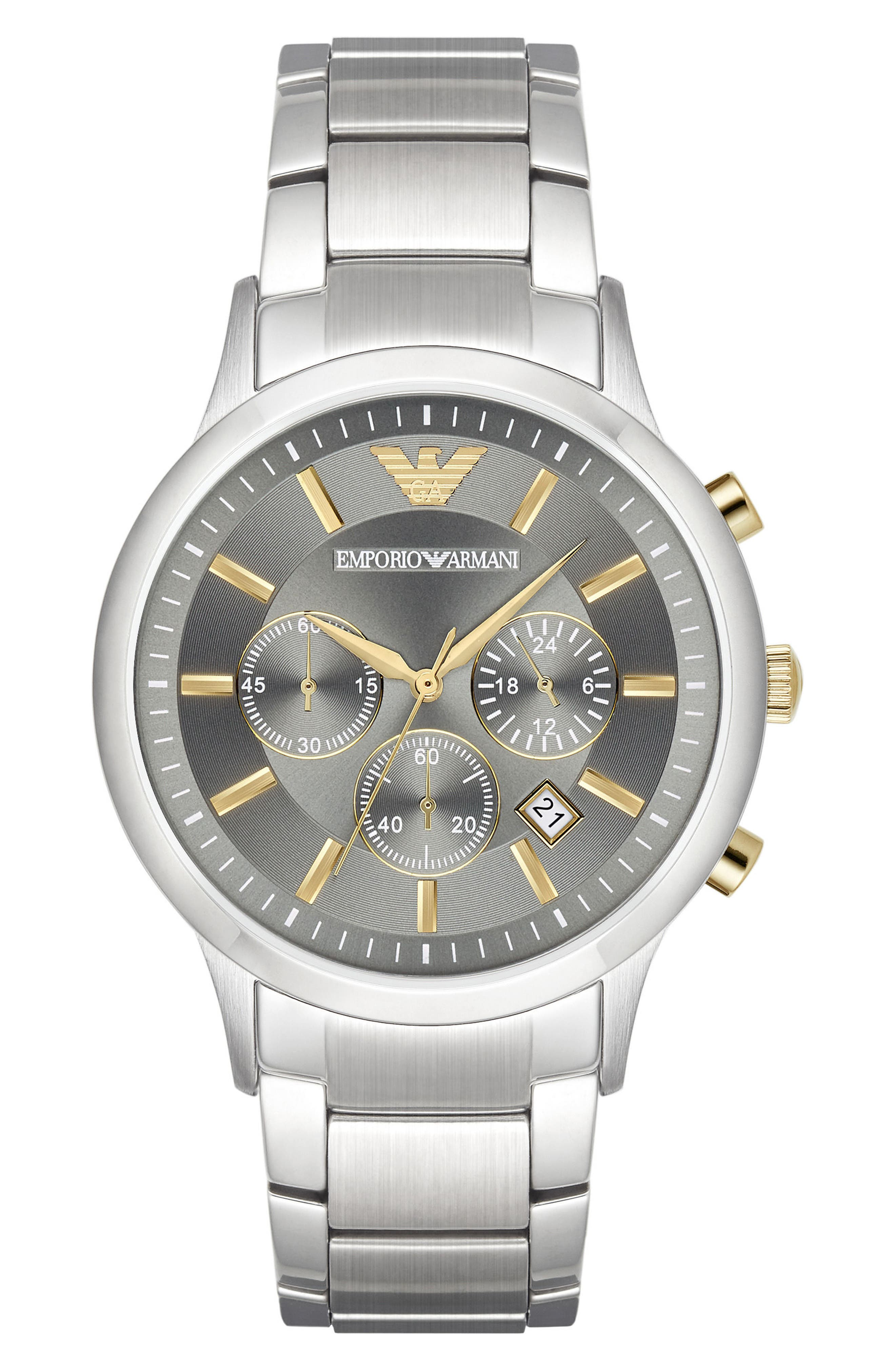 Chronograph Bracelet Watch, 43mm,                         Main,                         color, Grey/ Silver
