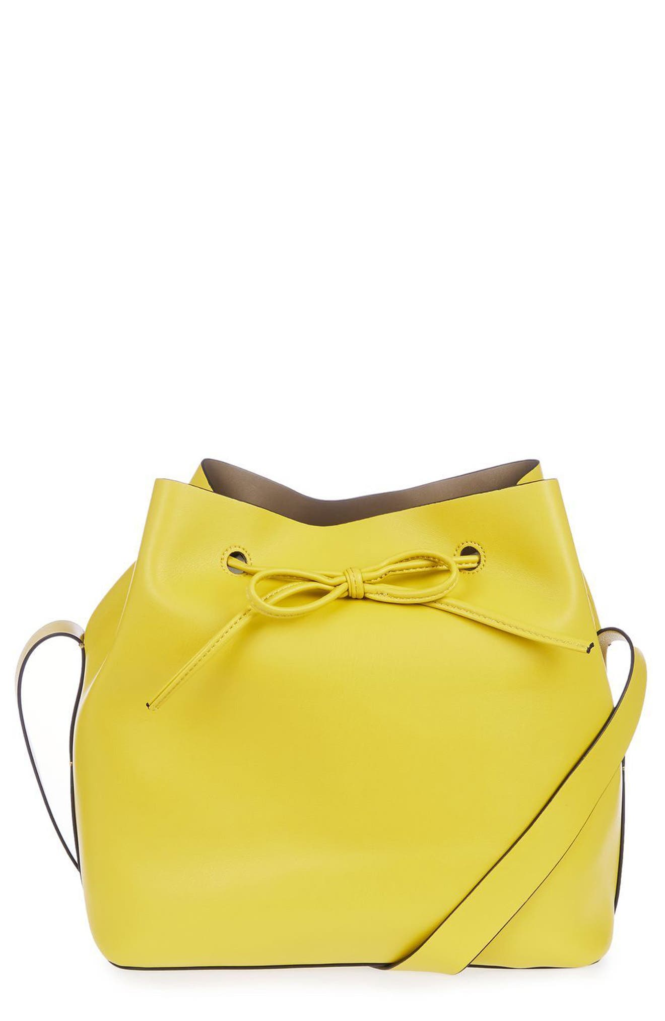 Alternate Image 1 Selected - Topshop Stella Faux Leather Bucket Bag