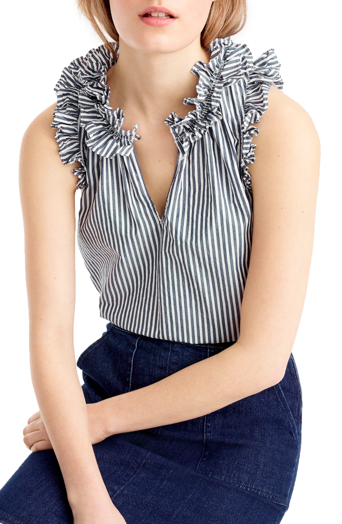 Main Image - J.Crew Ruffle Stripe Cotton Poplin Top