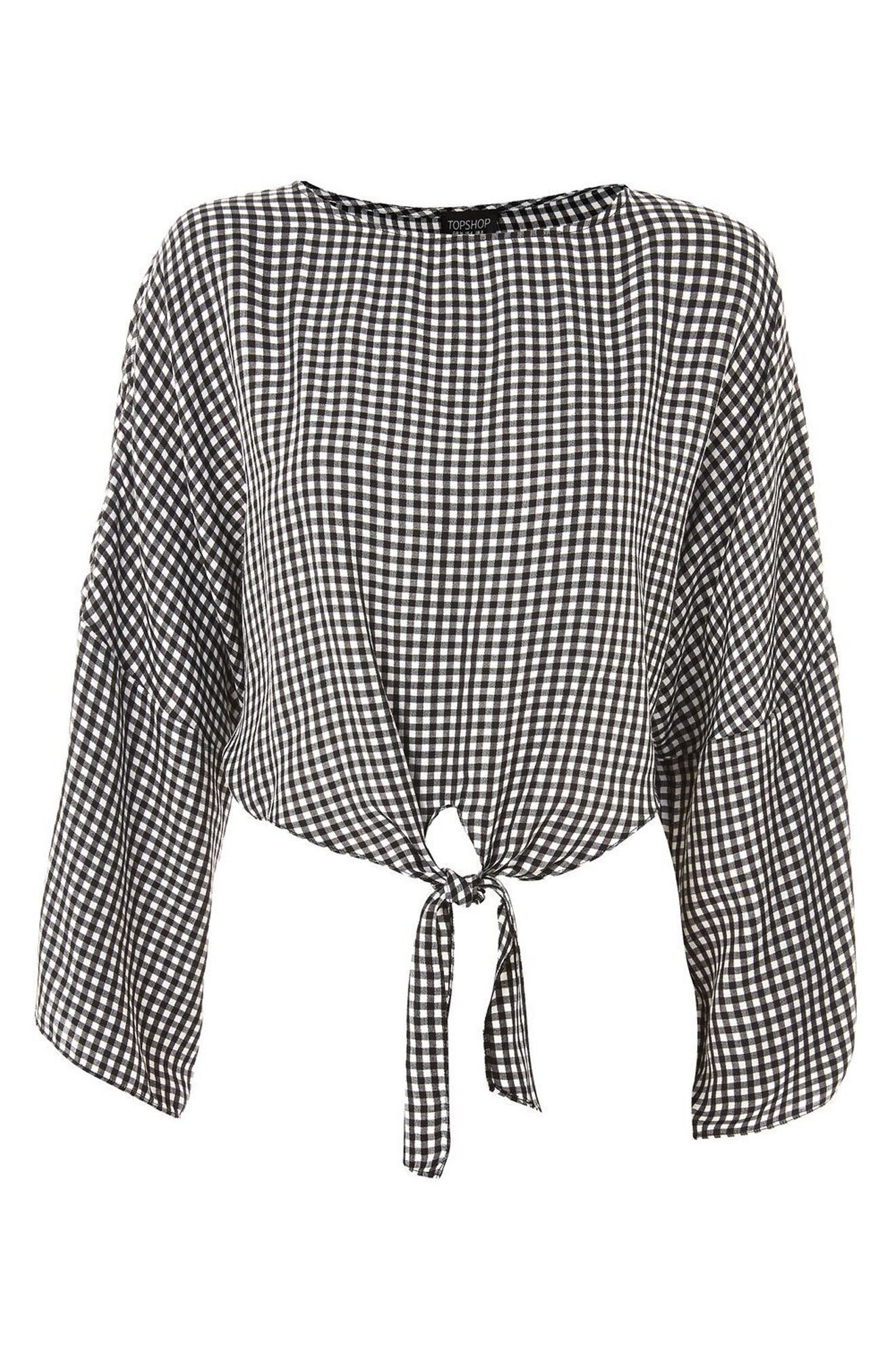 Alternate Image 4  - Topshop Knot Gingham Top