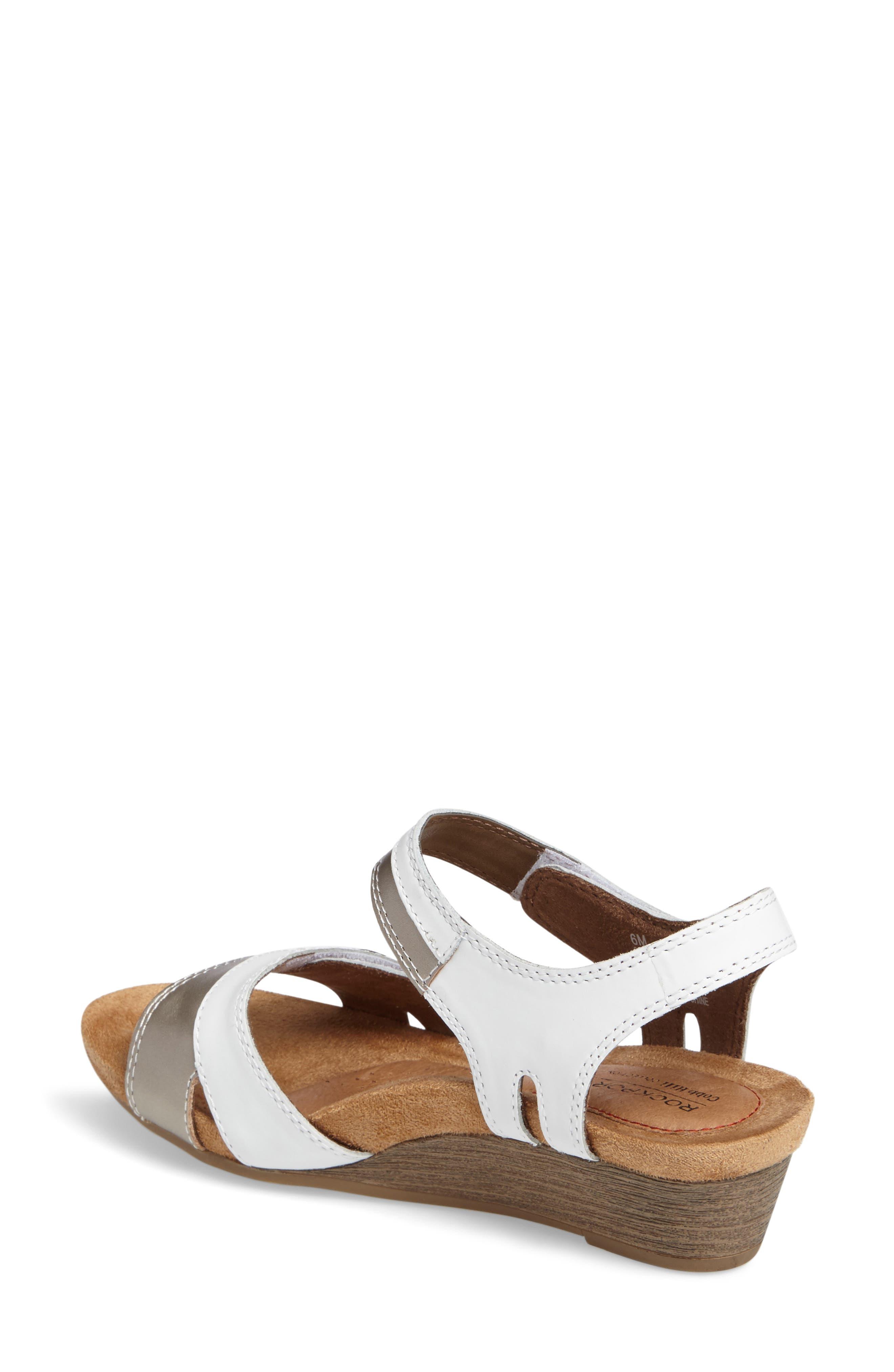 Hollywood Wedge Sandal,                             Alternate thumbnail 2, color,                             White Leather
