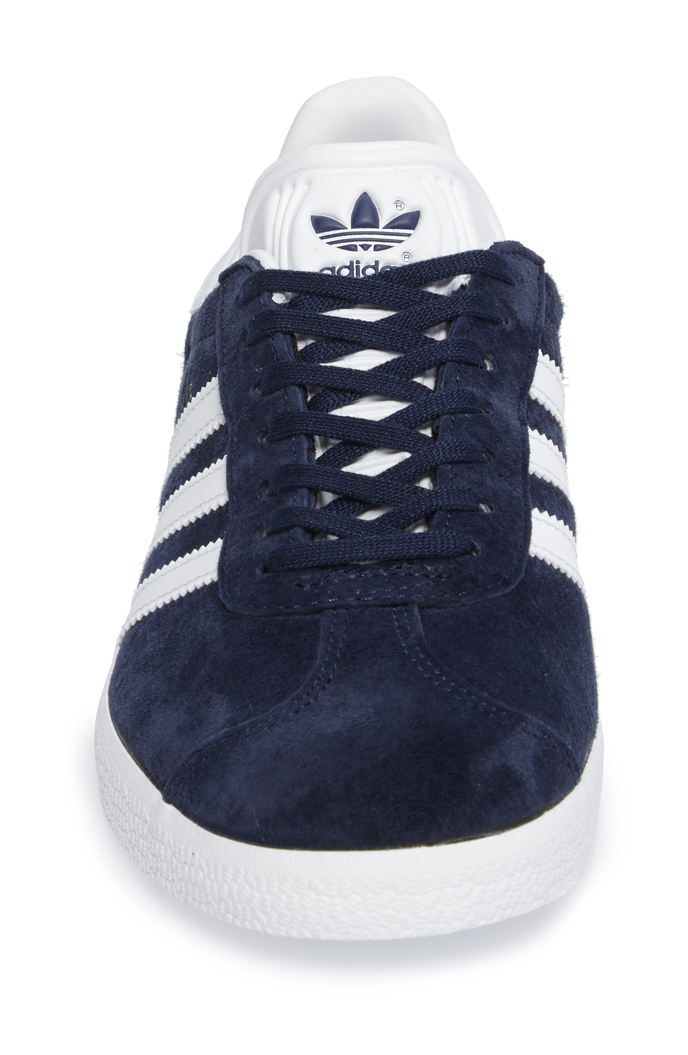 Gazelle Sneaker,                             Alternate thumbnail 4, color,                             Navy/ White/ Gold Metallic