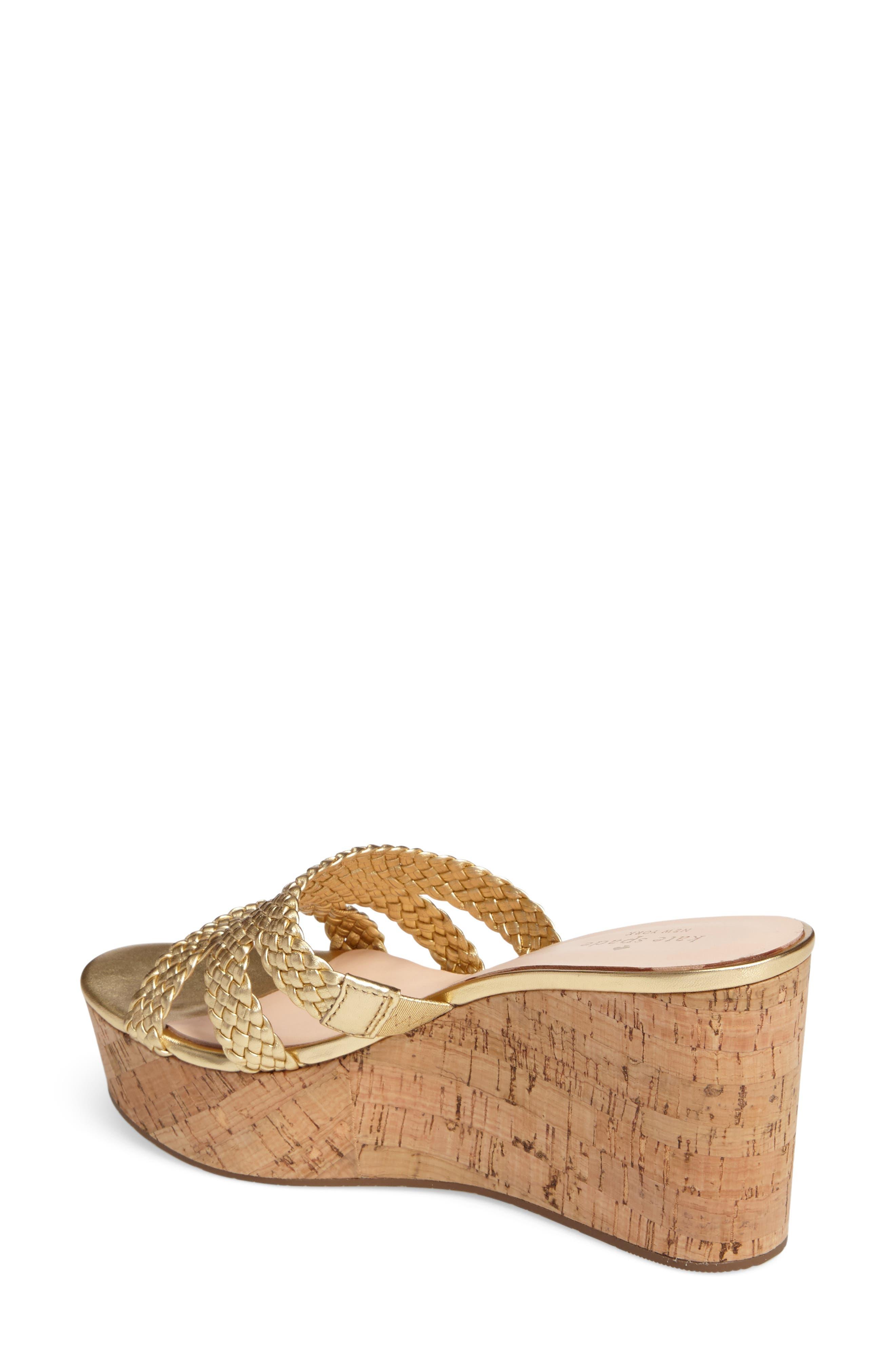 tarvela wedge sandal,                             Alternate thumbnail 2, color,                             Old Gold Woven Metallic Nappa