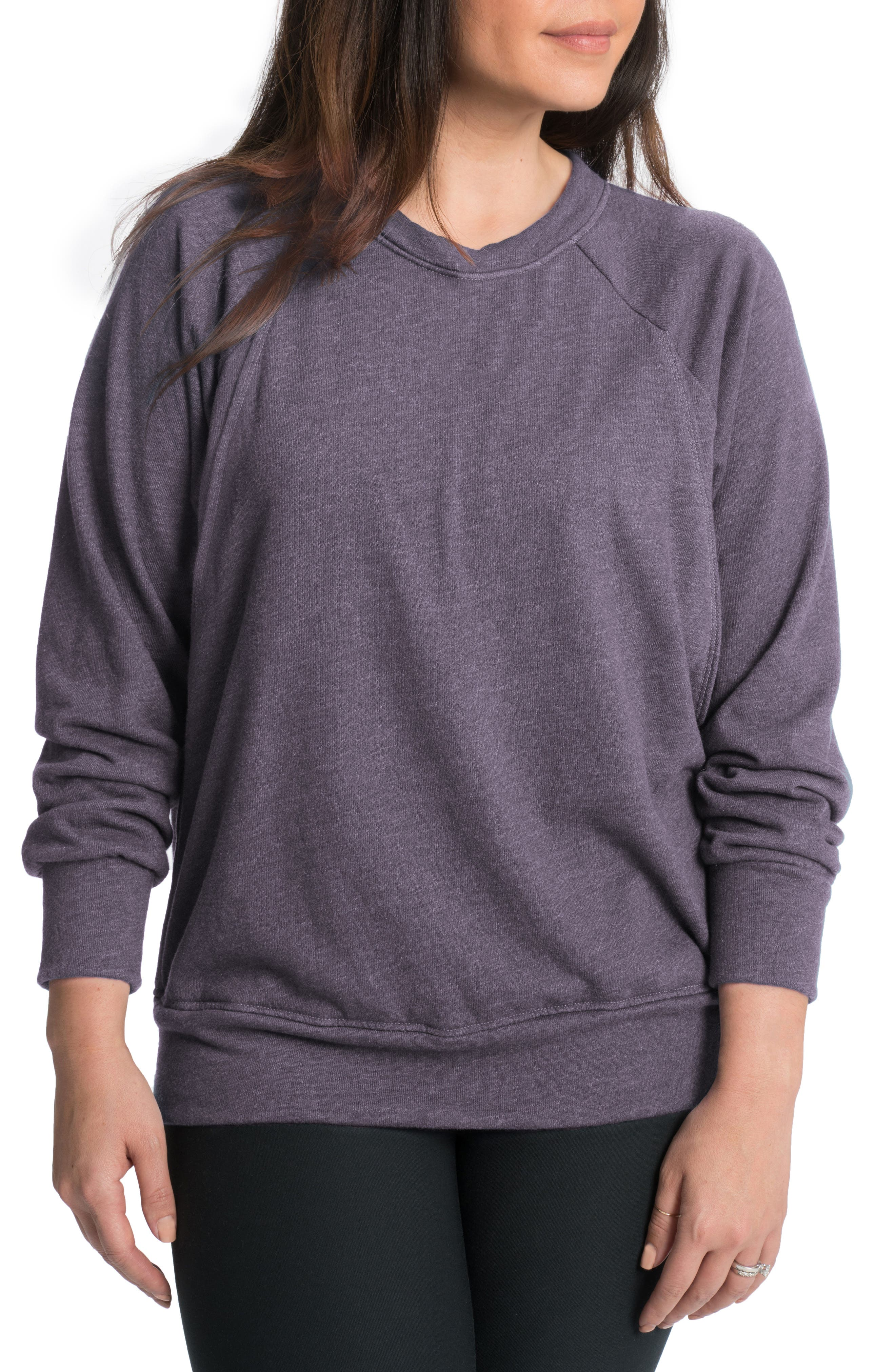 Relaxed Daily Maternity/Nursing Sweatshirt,                             Main thumbnail 1, color,                             Violet Verbena