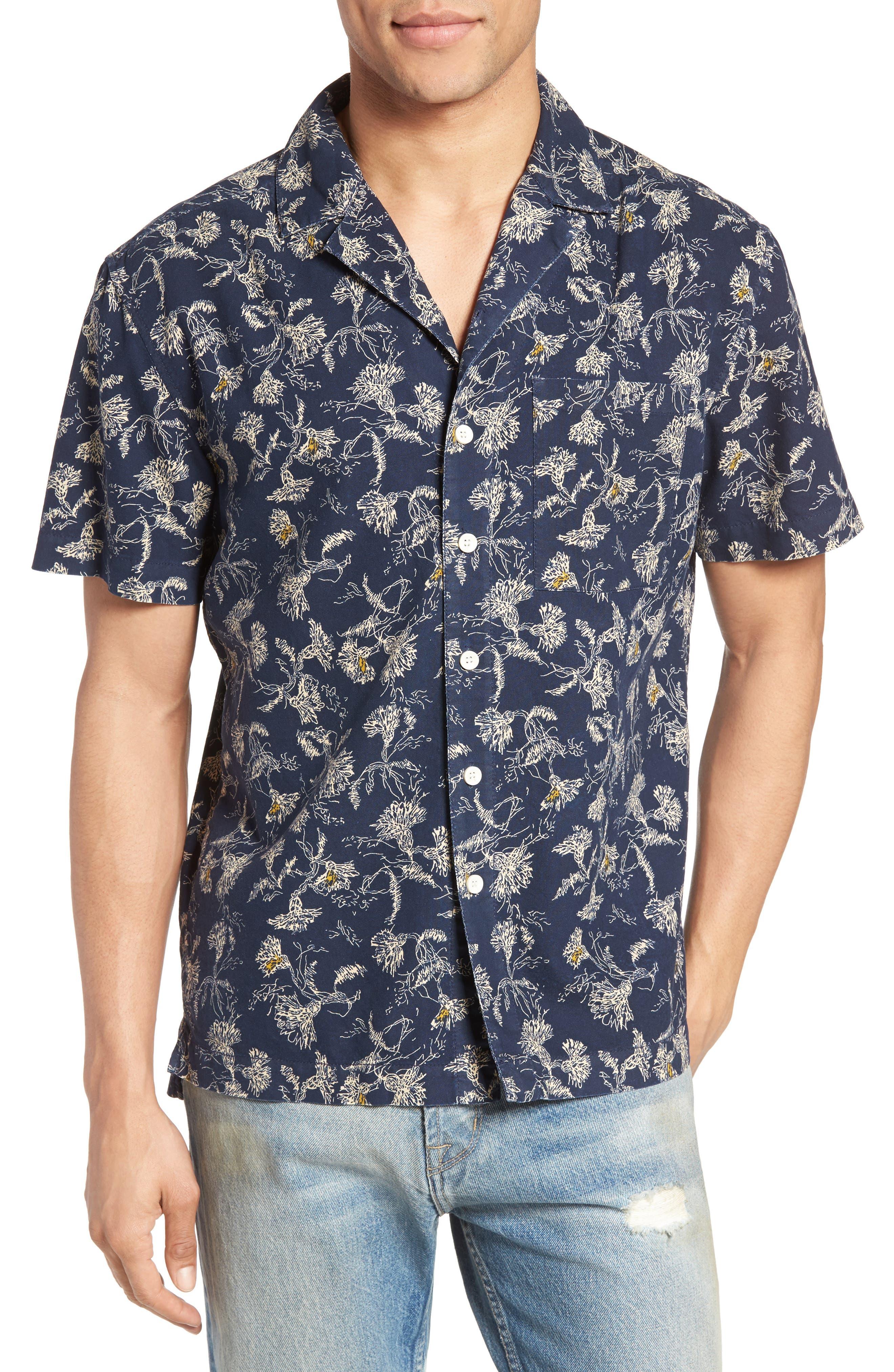 CURRENT/ELLIOTT Dandelion Print Cotton Cabana Shirt