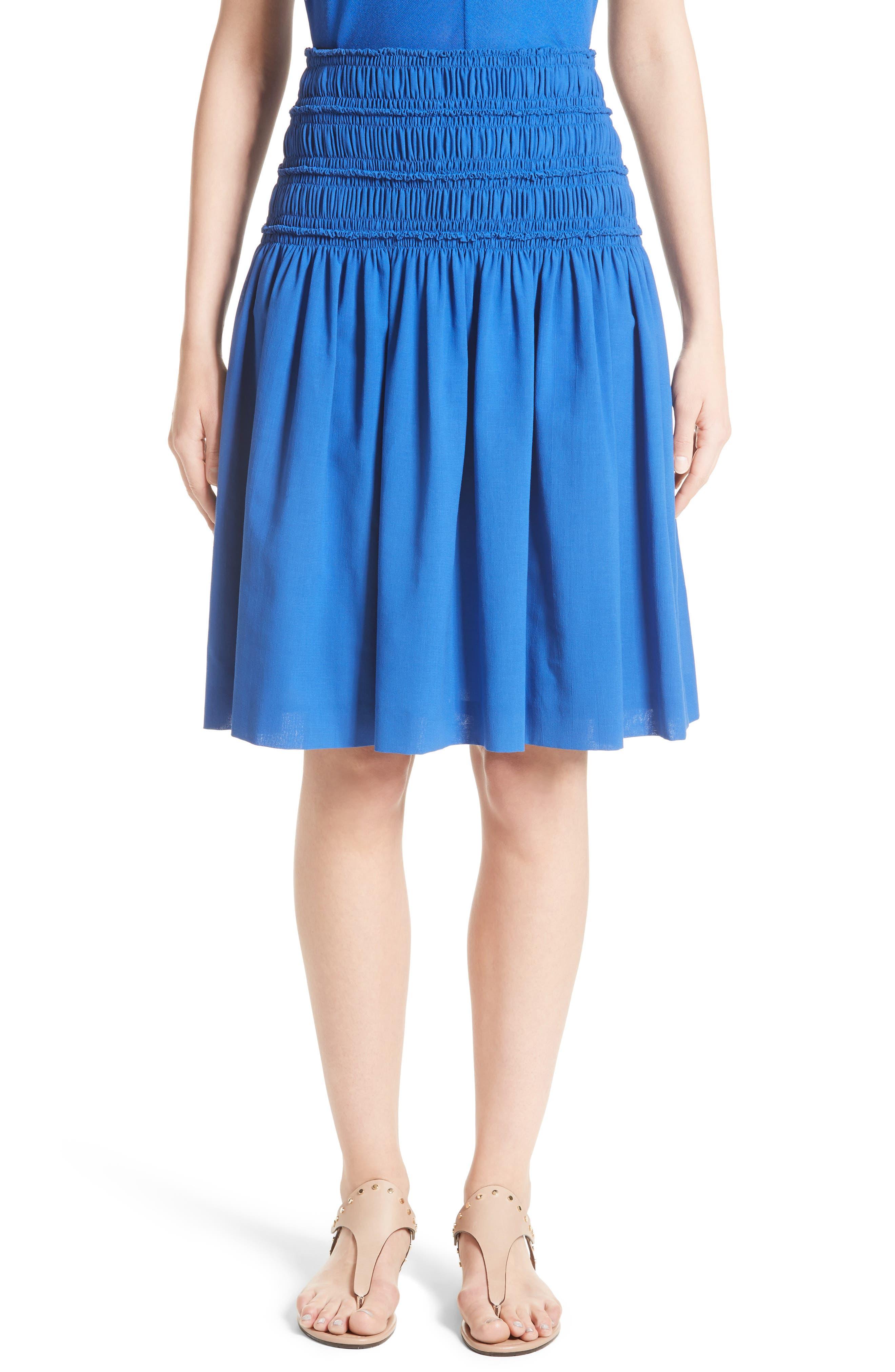 Akris Smocked Ruffle Skirt,                             Main thumbnail 1, color,                             Blue