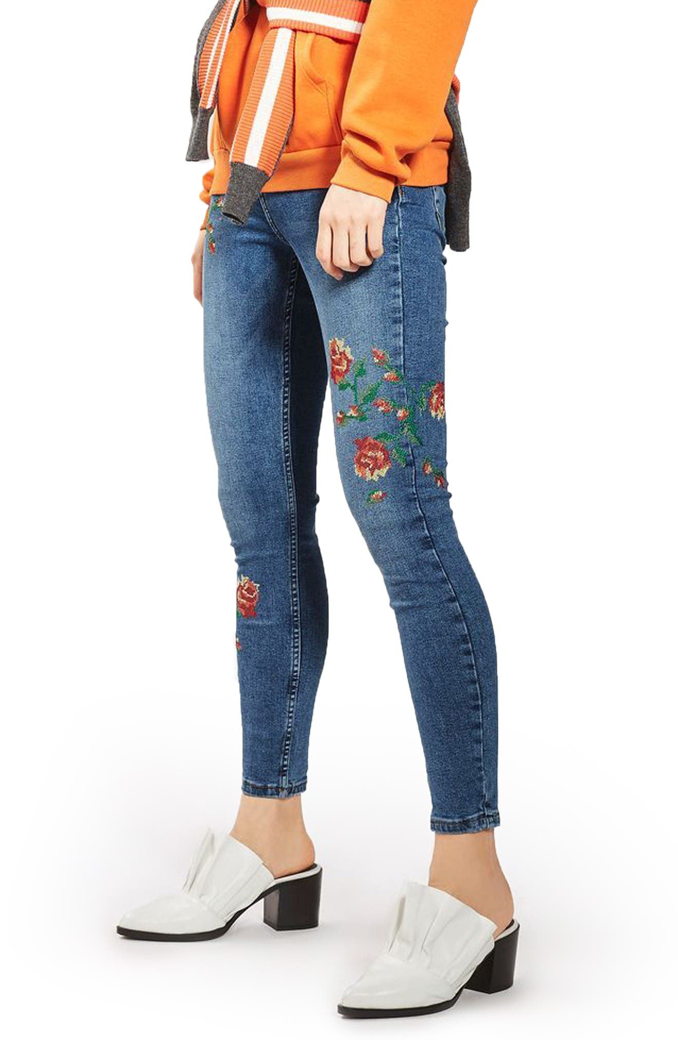 Jamie Embroidered Skinny Jeans,                             Alternate thumbnail 4, color,                             Mid Denim
