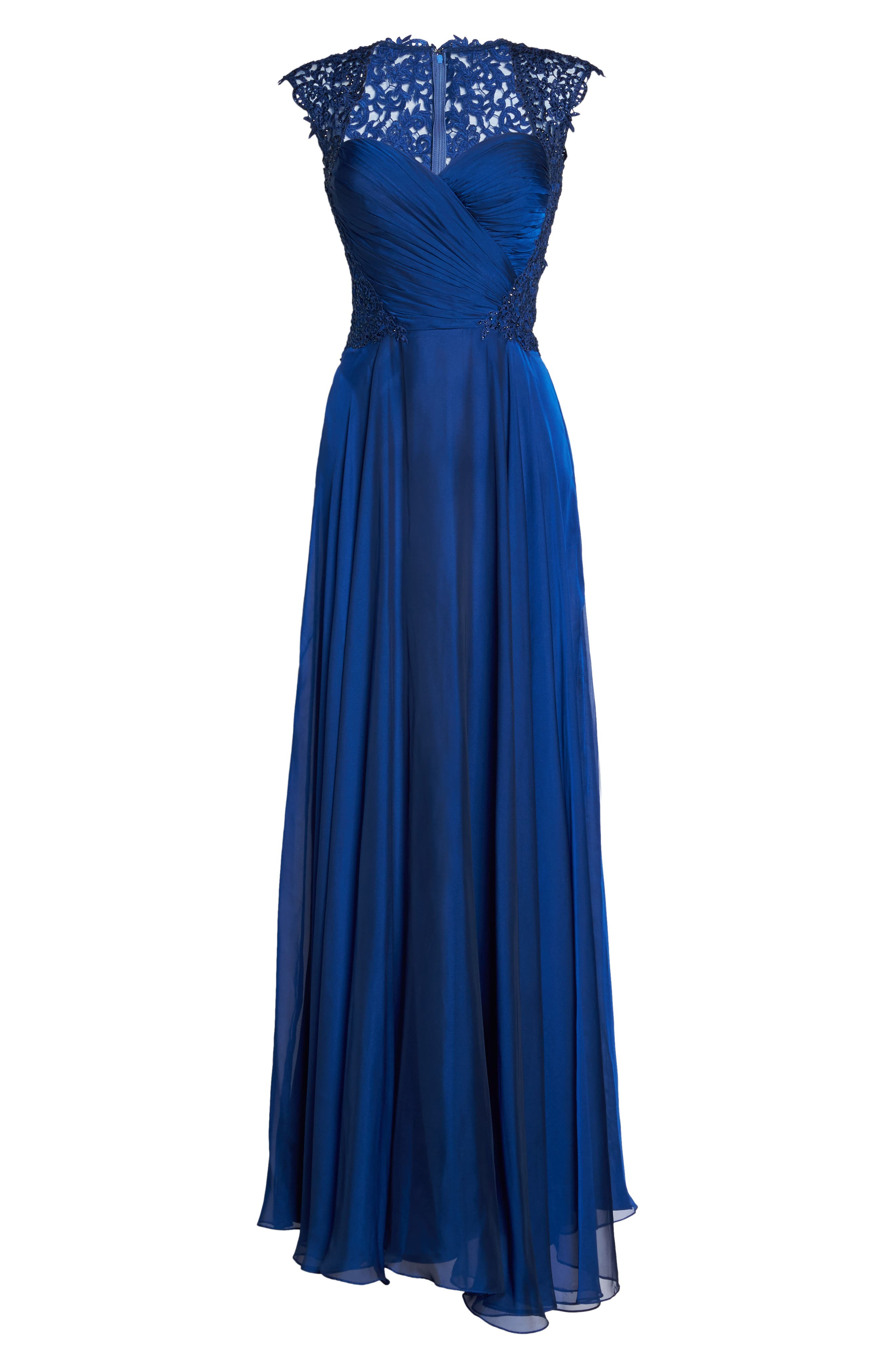 Ruched Chiffon Gown,                             Alternate thumbnail 6, color,                             Marine Blue