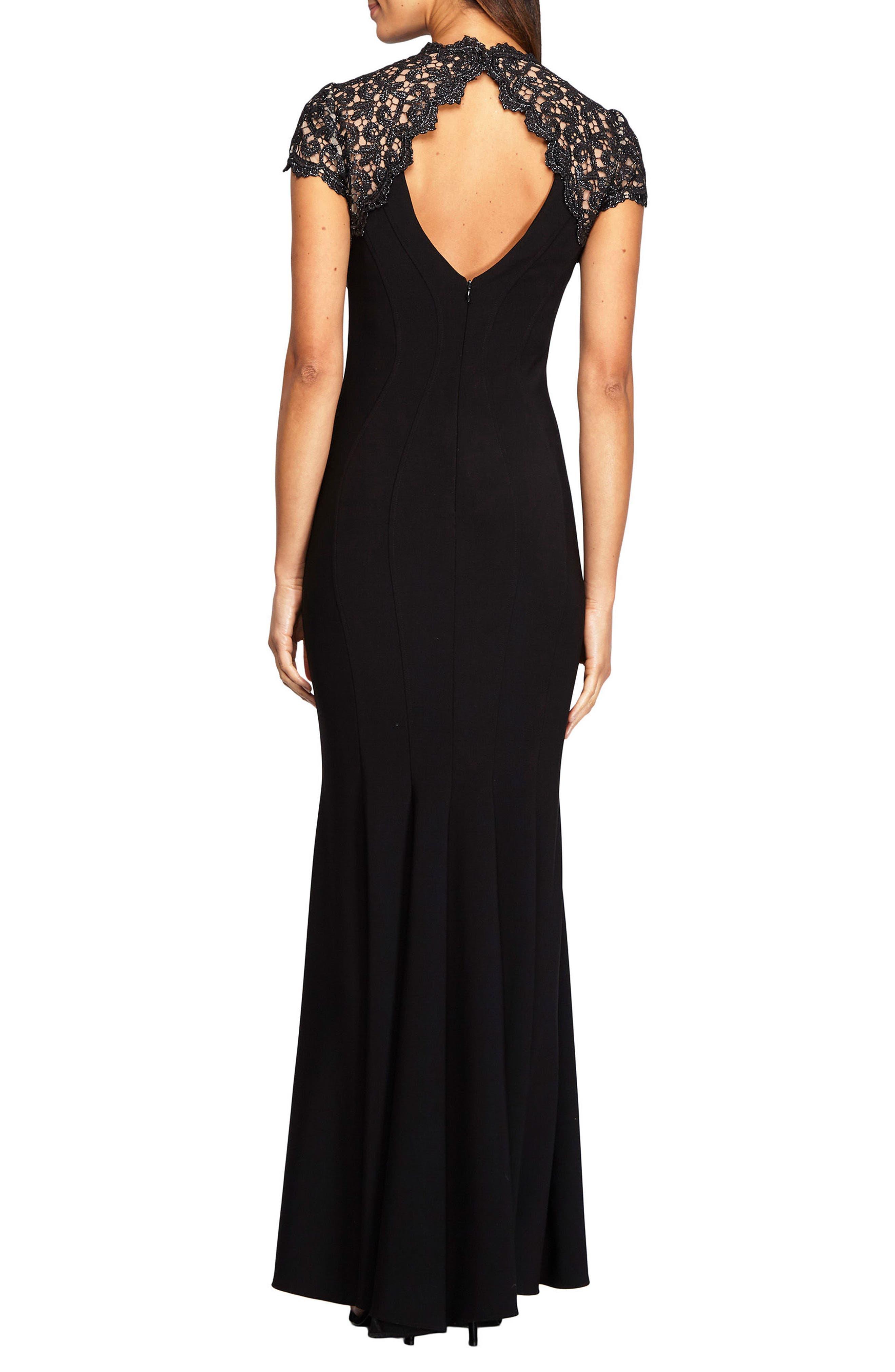 Alternate Image 2  - Alex Evenings Metallic Lace & Jersey Gown